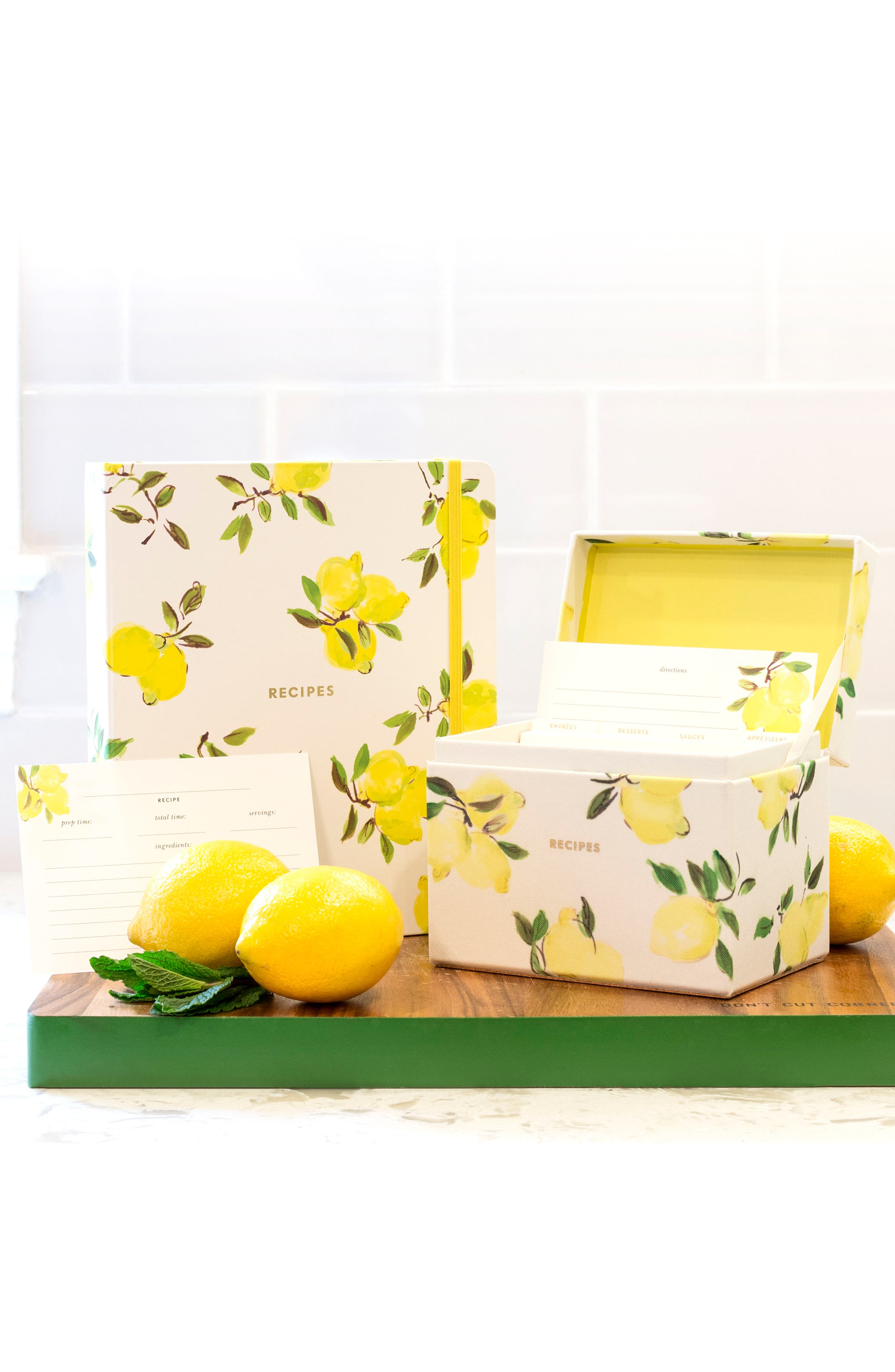 lemon recipe box & cards set,                             Alternate thumbnail 2, color,                             730