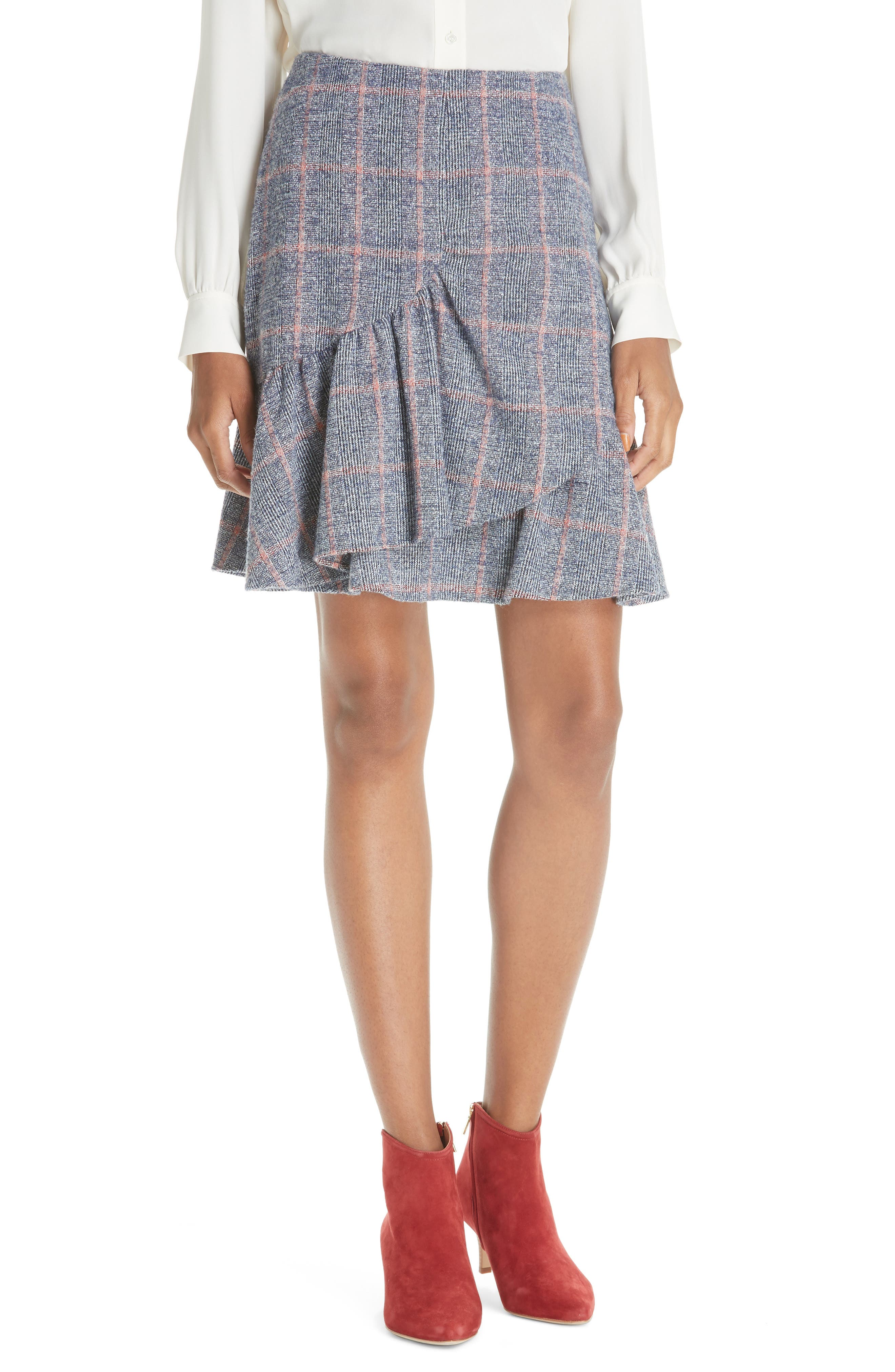 Cotton Wool Blend Plaid Ruffle Mini Skirt,                             Main thumbnail 1, color,                             482