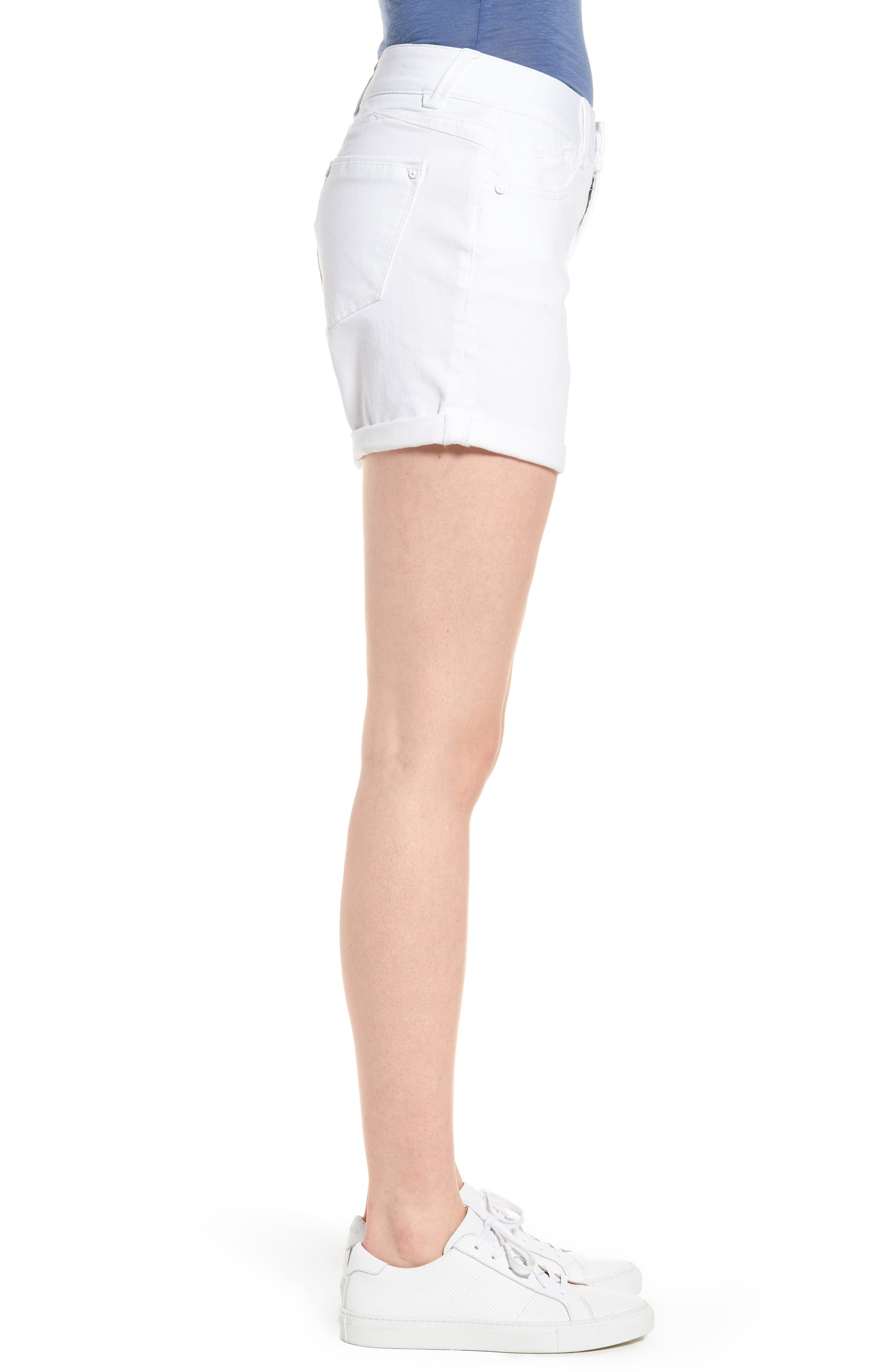 Ab-solution Cuffed White Shorts,                             Alternate thumbnail 3, color,                             106