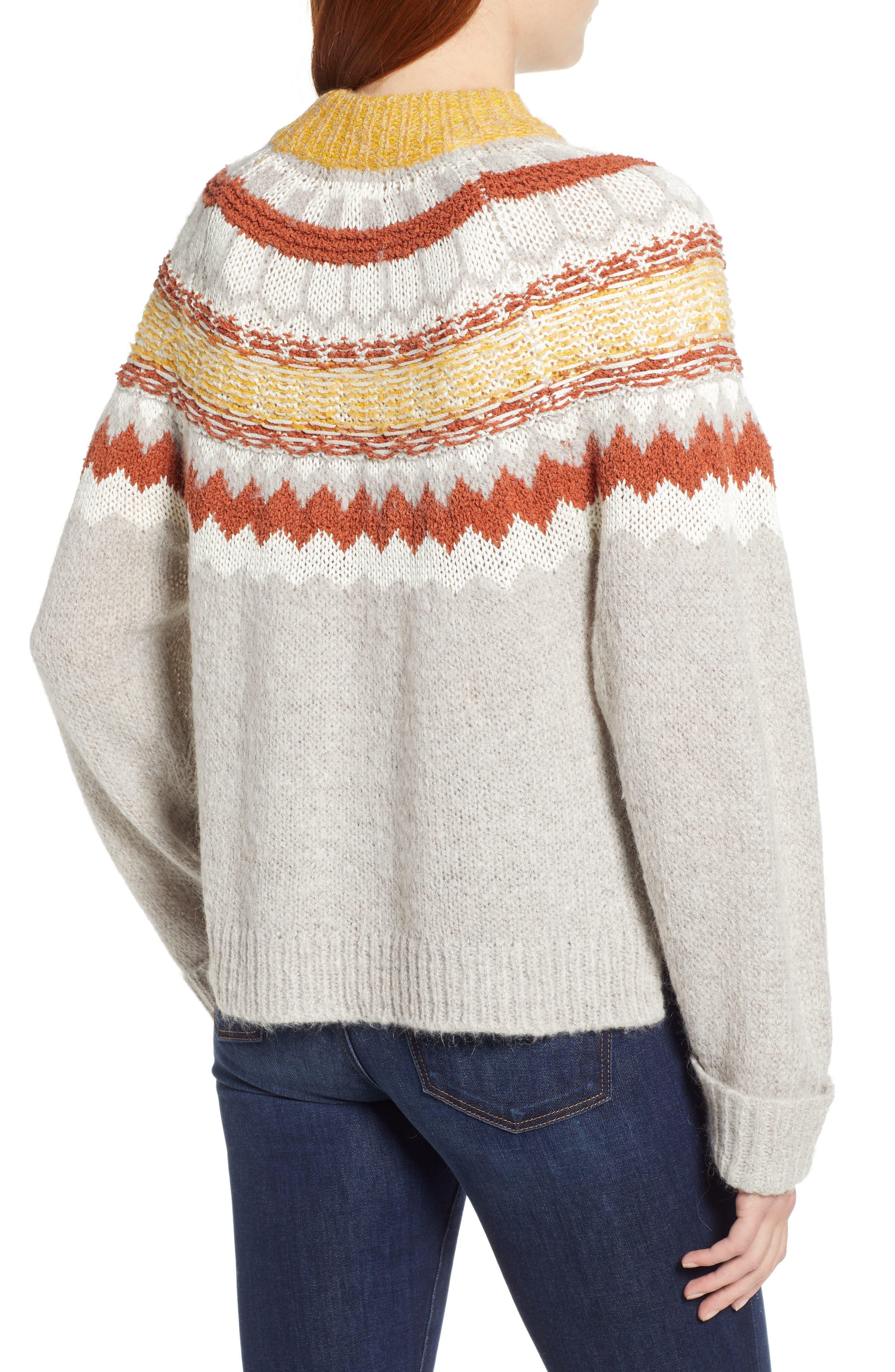 Chunky Jacquard Sweater,                             Alternate thumbnail 2, color,                             TAN FOLIAGE PATTERN