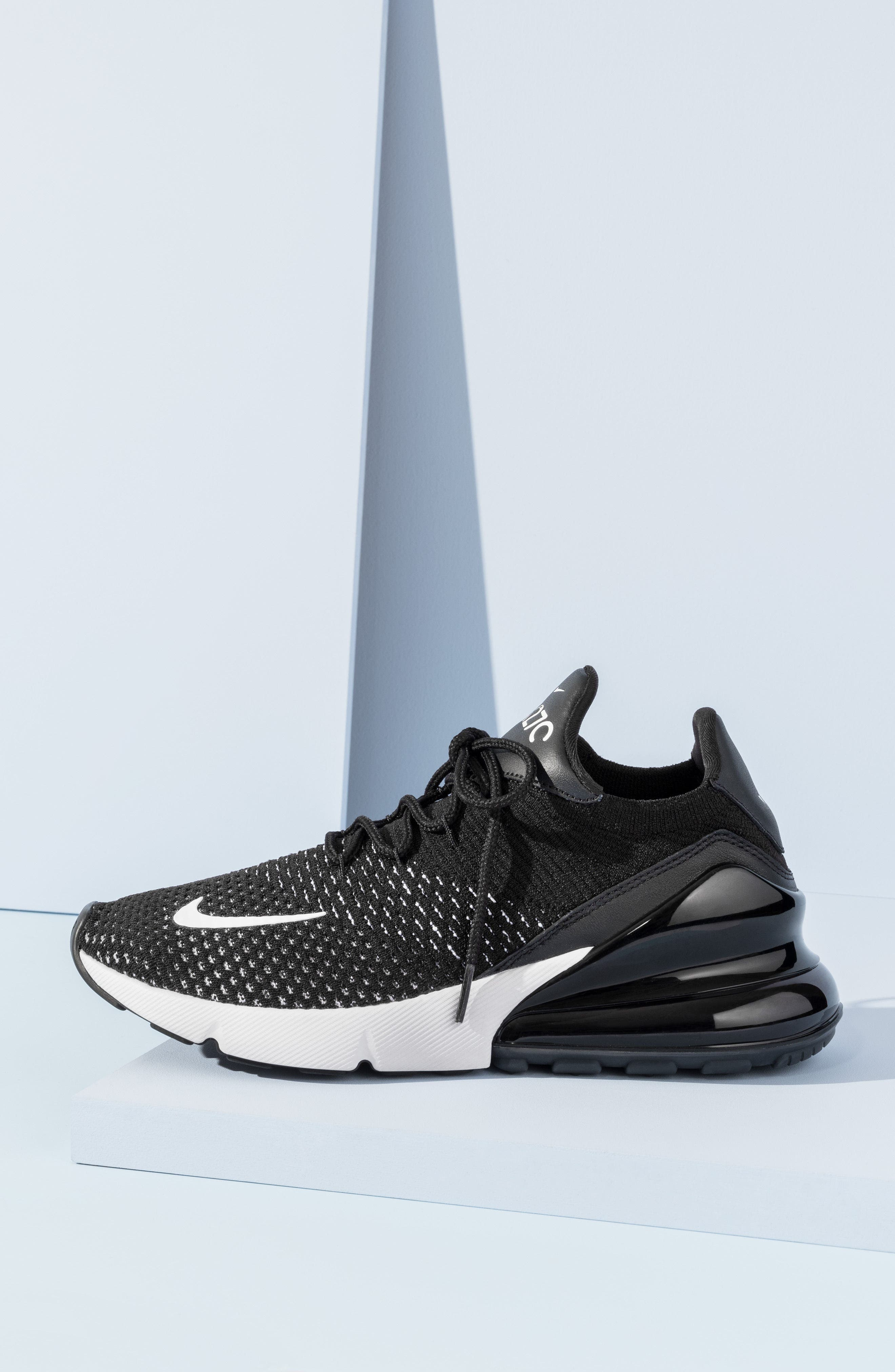 Air Max 270 Flyknit Sneaker,                             Alternate thumbnail 7, color,                             001