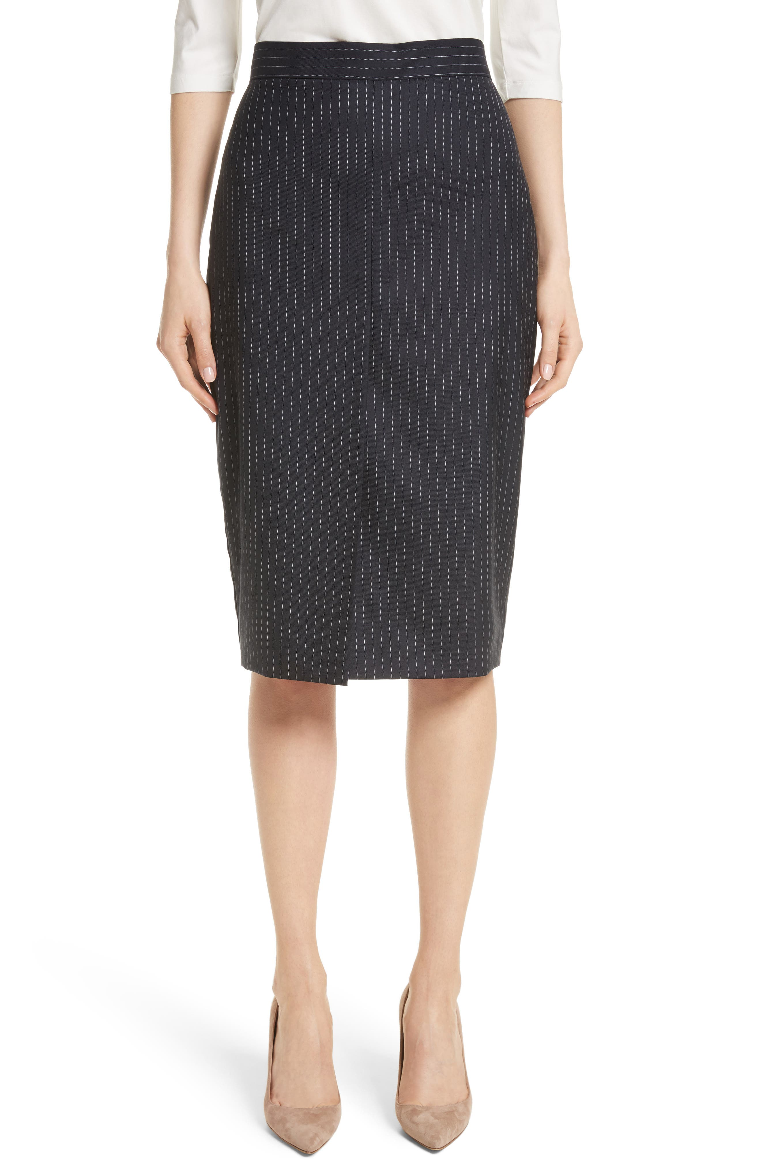 Abba Pinstripe Pencil Skirt,                             Main thumbnail 1, color,                             411