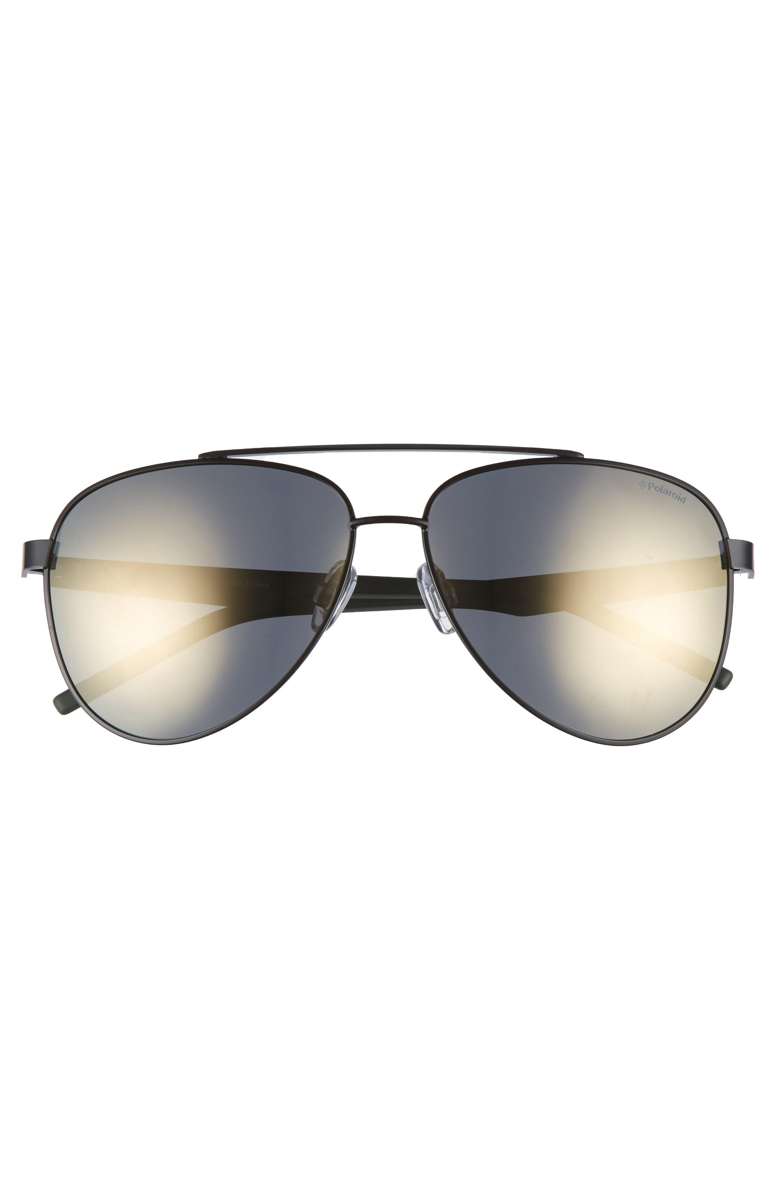 Polaroid 61mm Polarized Aviator Sunglasses,                             Alternate thumbnail 2, color,                             BLACK
