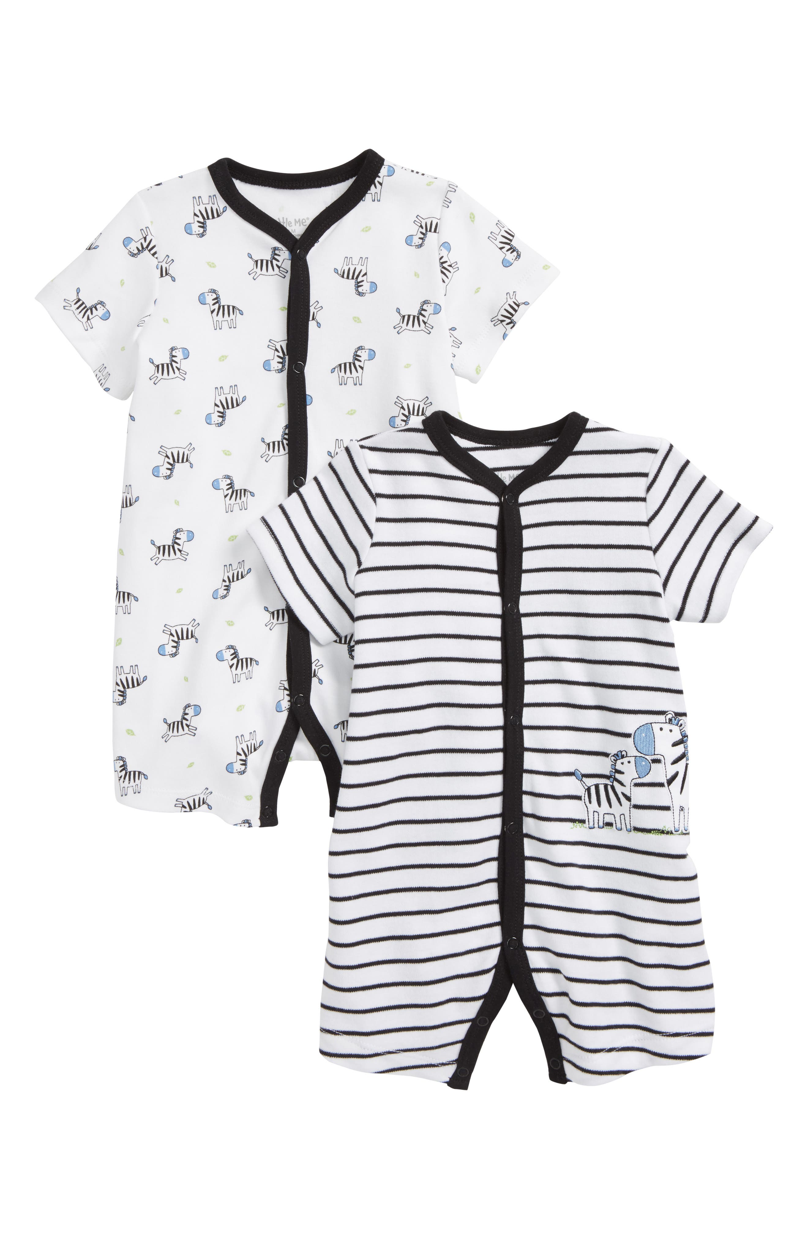 Zebra 2-Pack Rompers,                             Main thumbnail 1, color,                             001