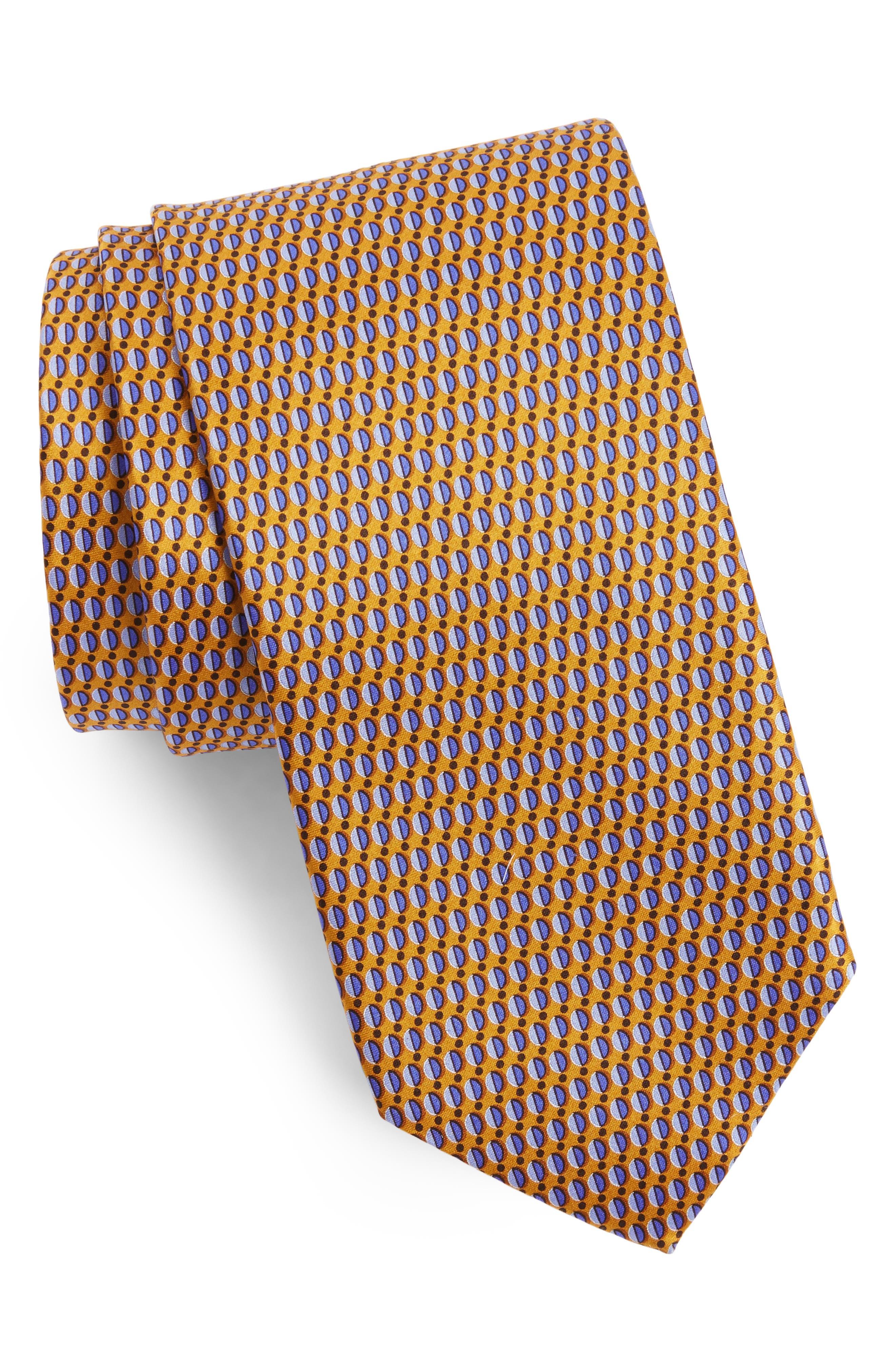 Neat Print Silk Tie,                         Main,                         color, 800