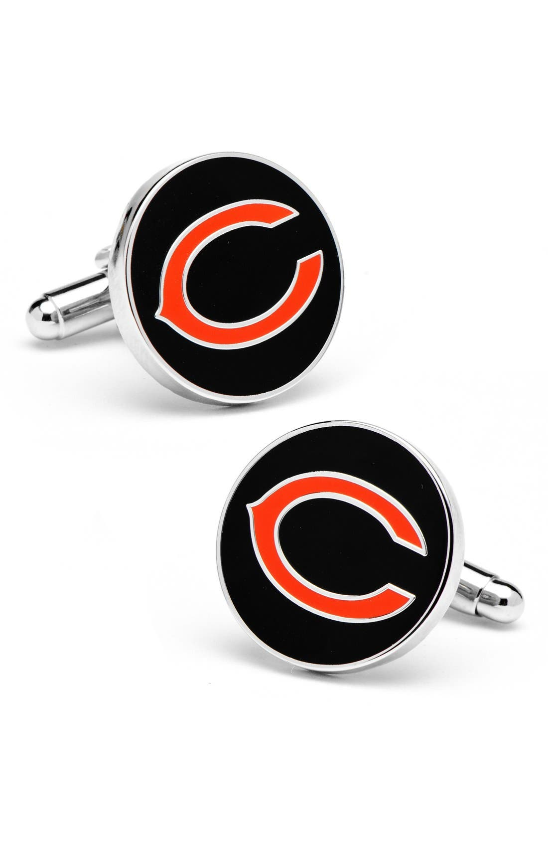 'Chicago Bears' Cuff Links,                             Main thumbnail 1, color,                             BLACK/ ORANGE