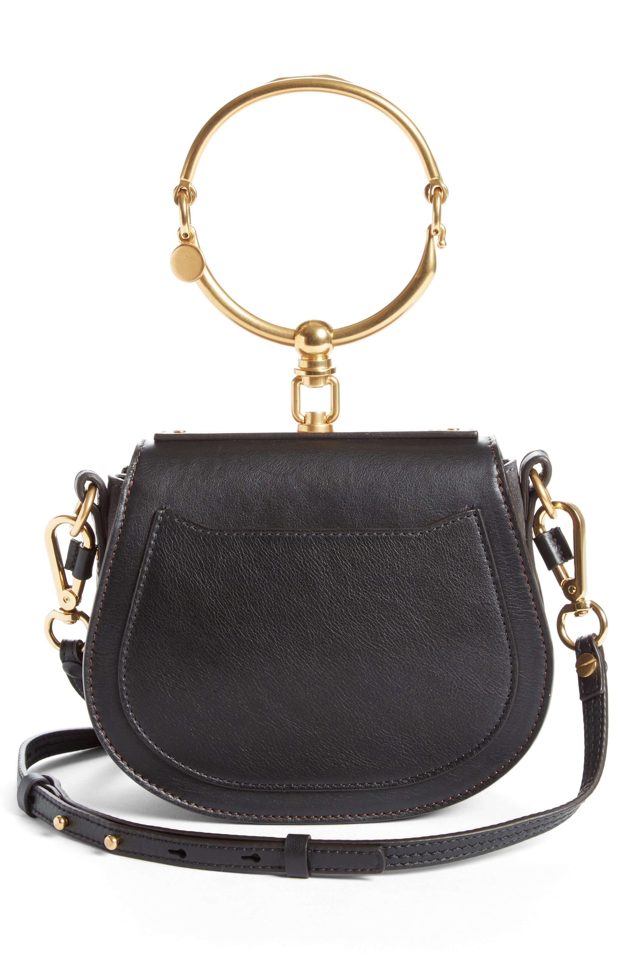 Small Nile Calfskin Leather Bracelet Bag,                             Alternate thumbnail 3, color,                             BLACK
