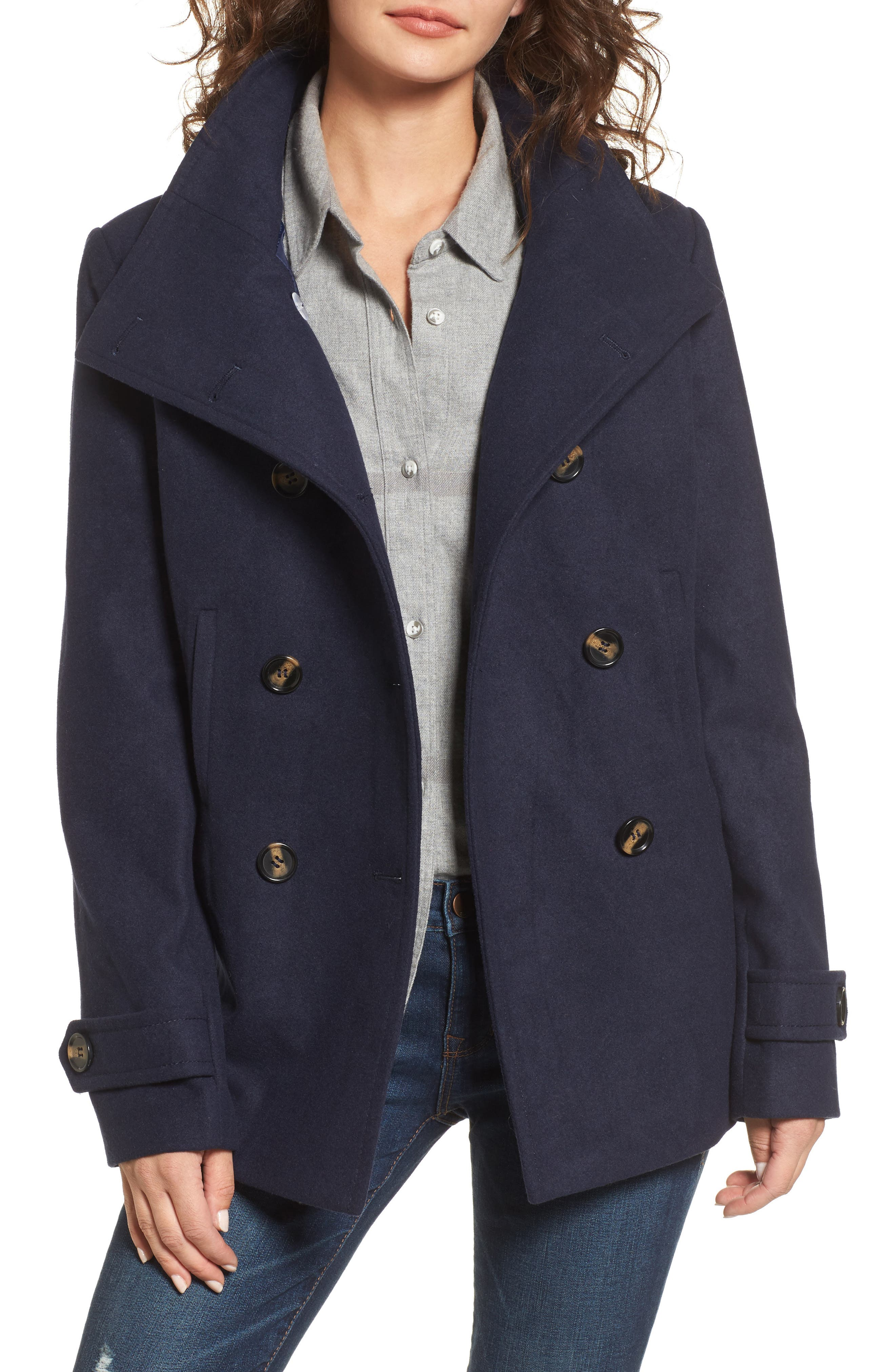 Double Breasted Peacoat,                             Main thumbnail 5, color,