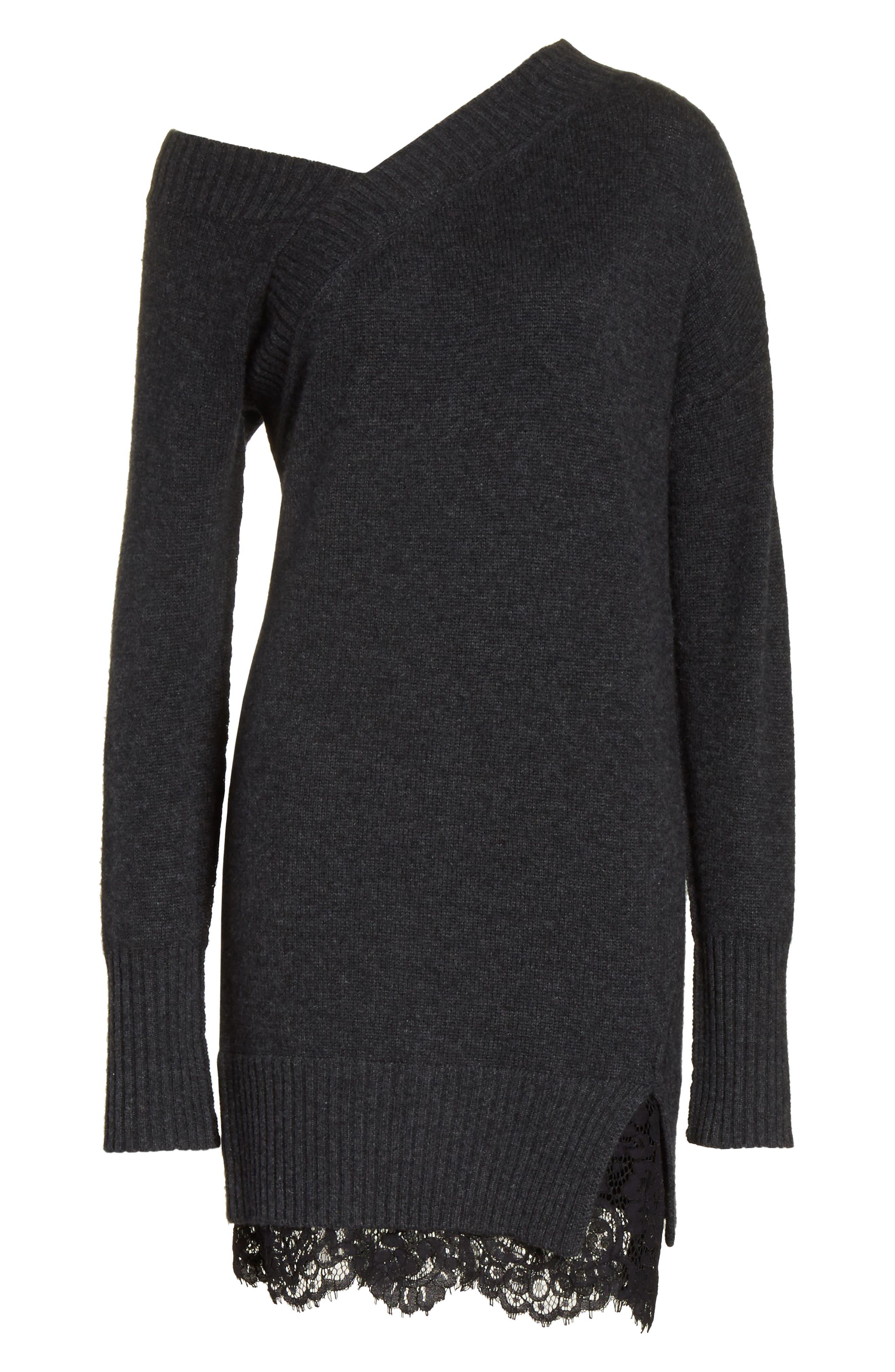 One-Shoulder Sweater Dress,                             Alternate thumbnail 6, color,                             009