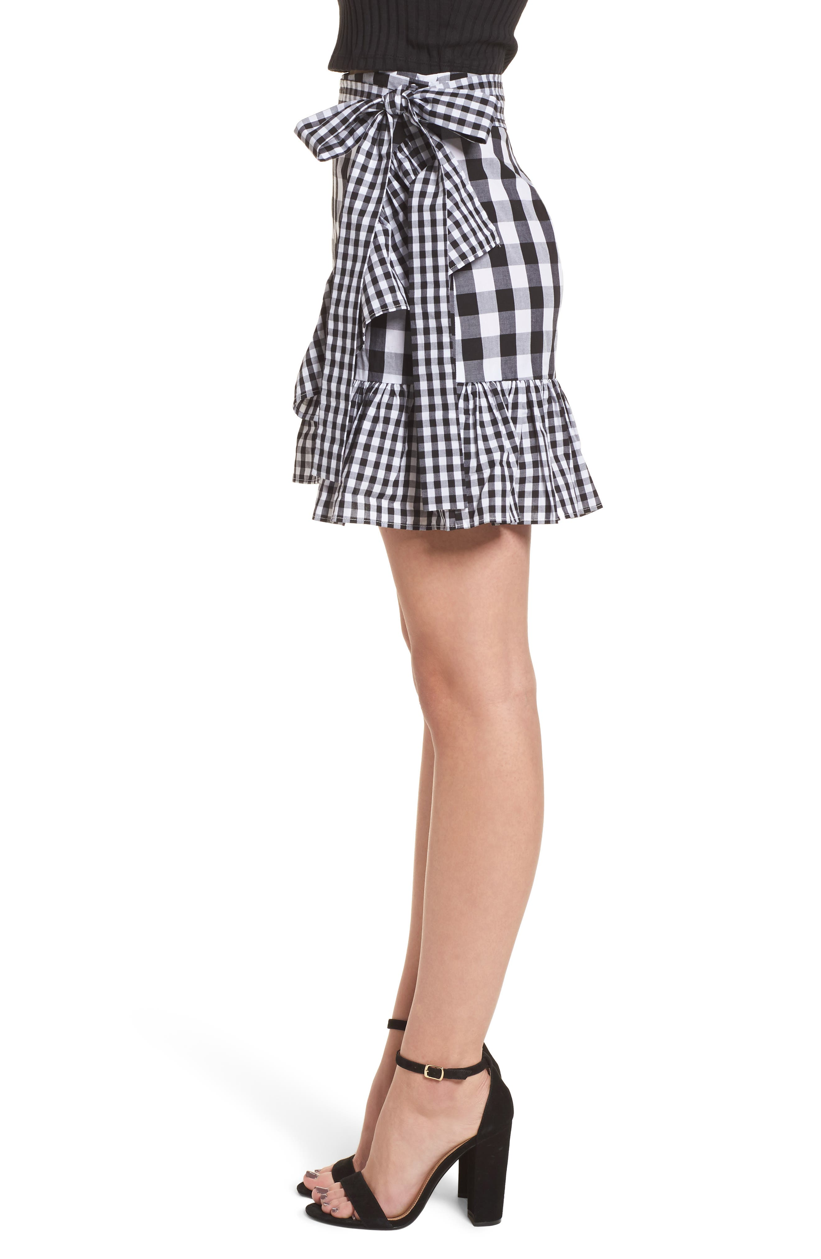 Mixed Check Ruffle Trim Skirt,                             Alternate thumbnail 3, color,