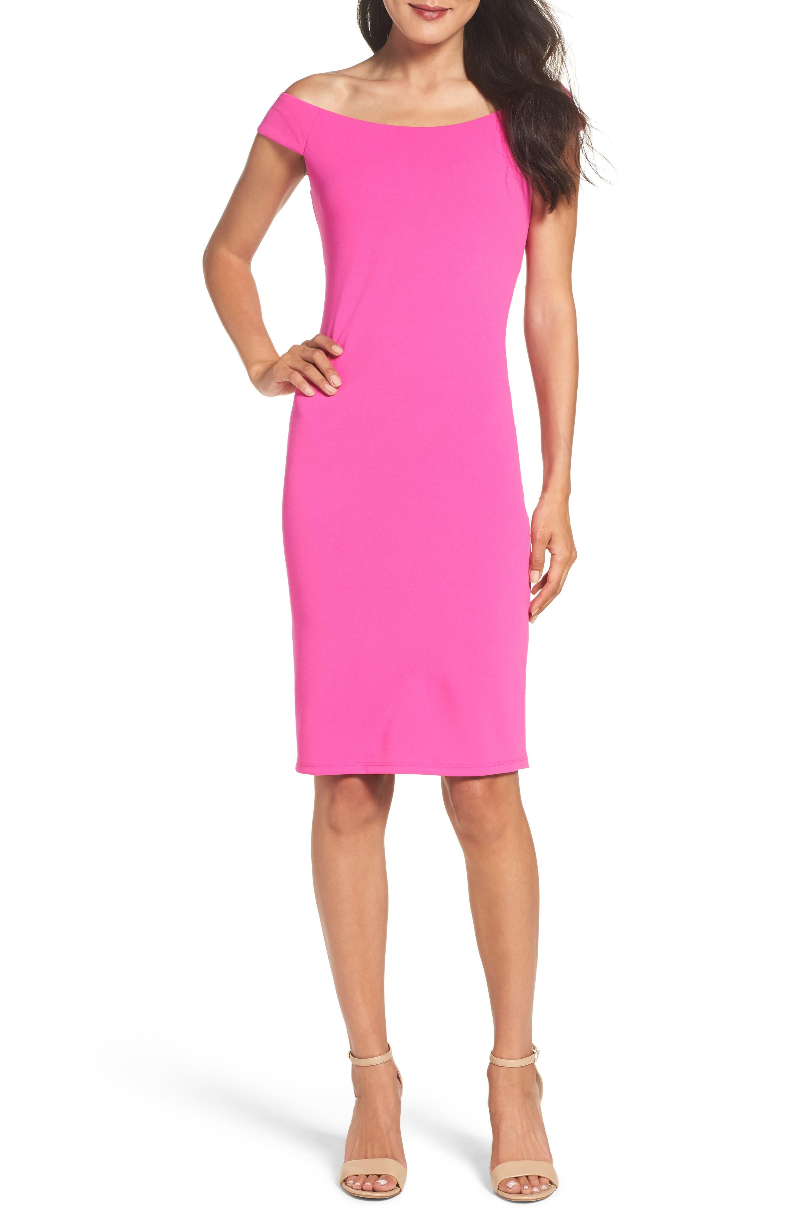 Off the Shoulder Sheath Dress,                             Main thumbnail 4, color,