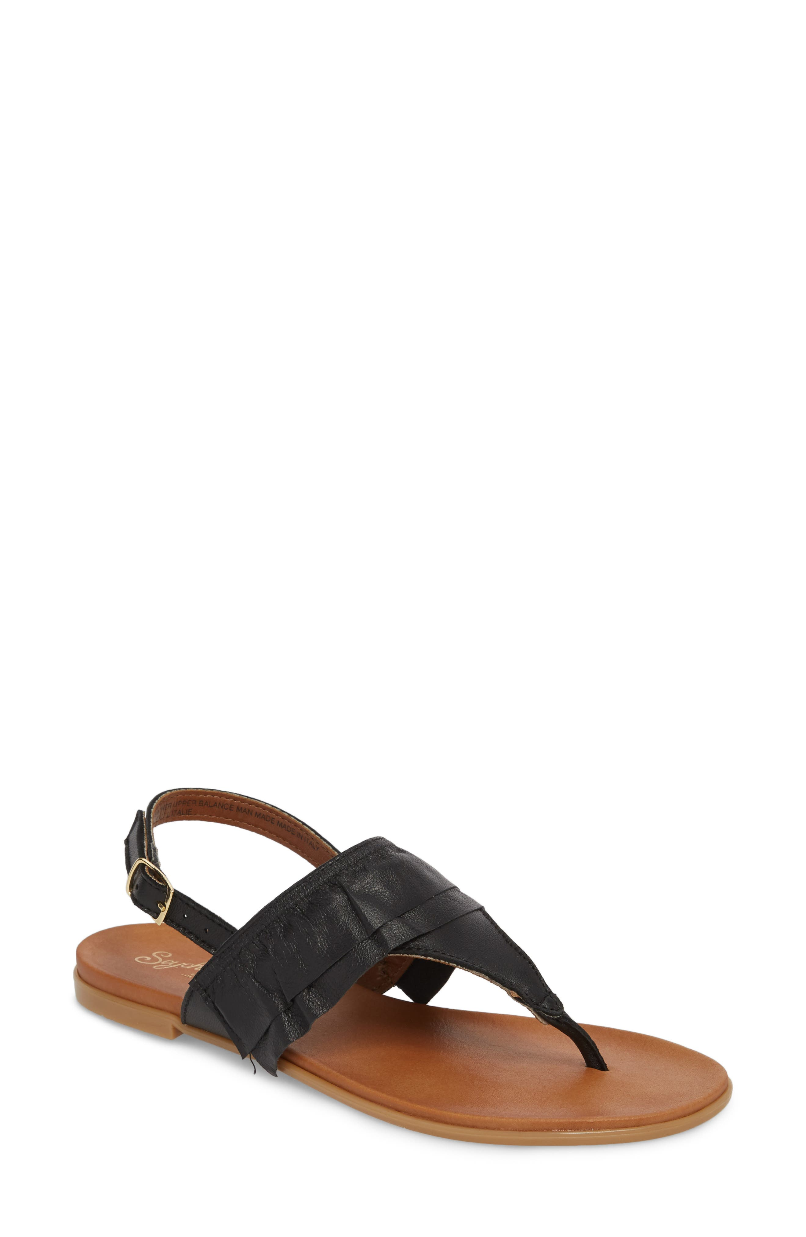 Seclusion Ruffle Sandal,                             Main thumbnail 1, color,                             BLACK LEATHER