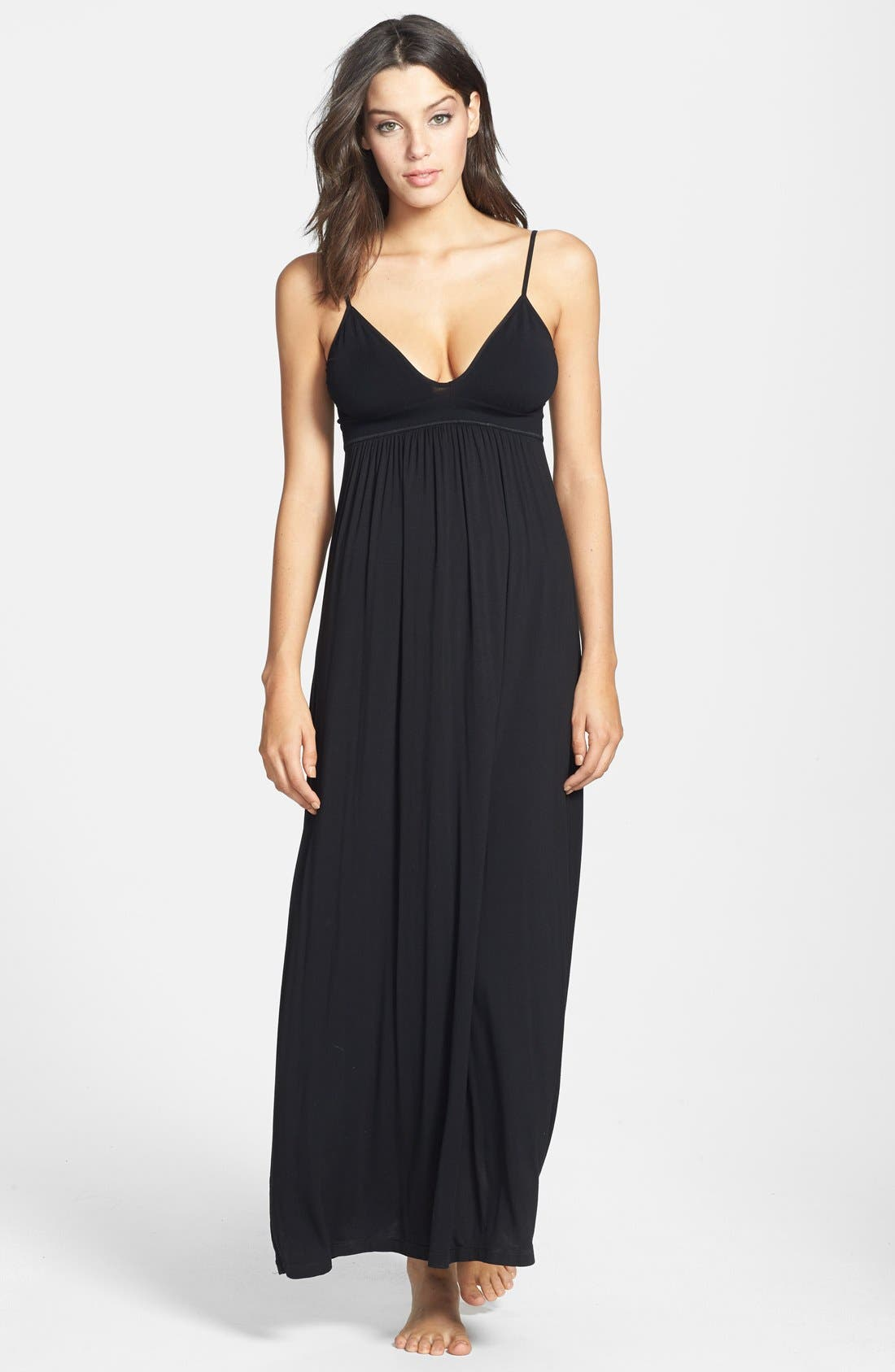 DONNA KARAN NEW YORK,                             Donna Karan Liquid Jersey Empire Waist Nightgown,                             Main thumbnail 1, color,                             001