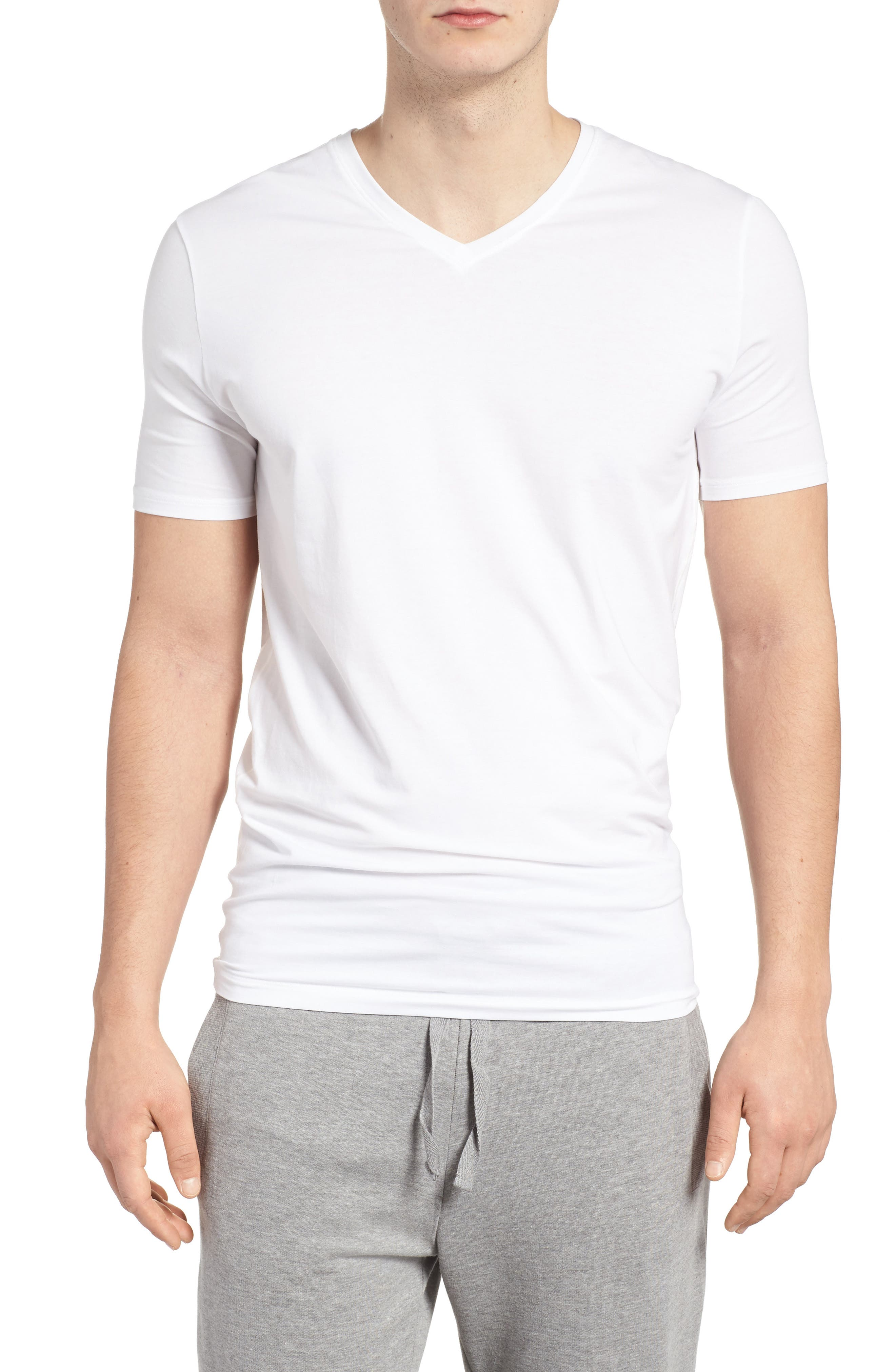Cool Cotton High V-Neck Undershirt,                             Main thumbnail 1, color,                             WHITE