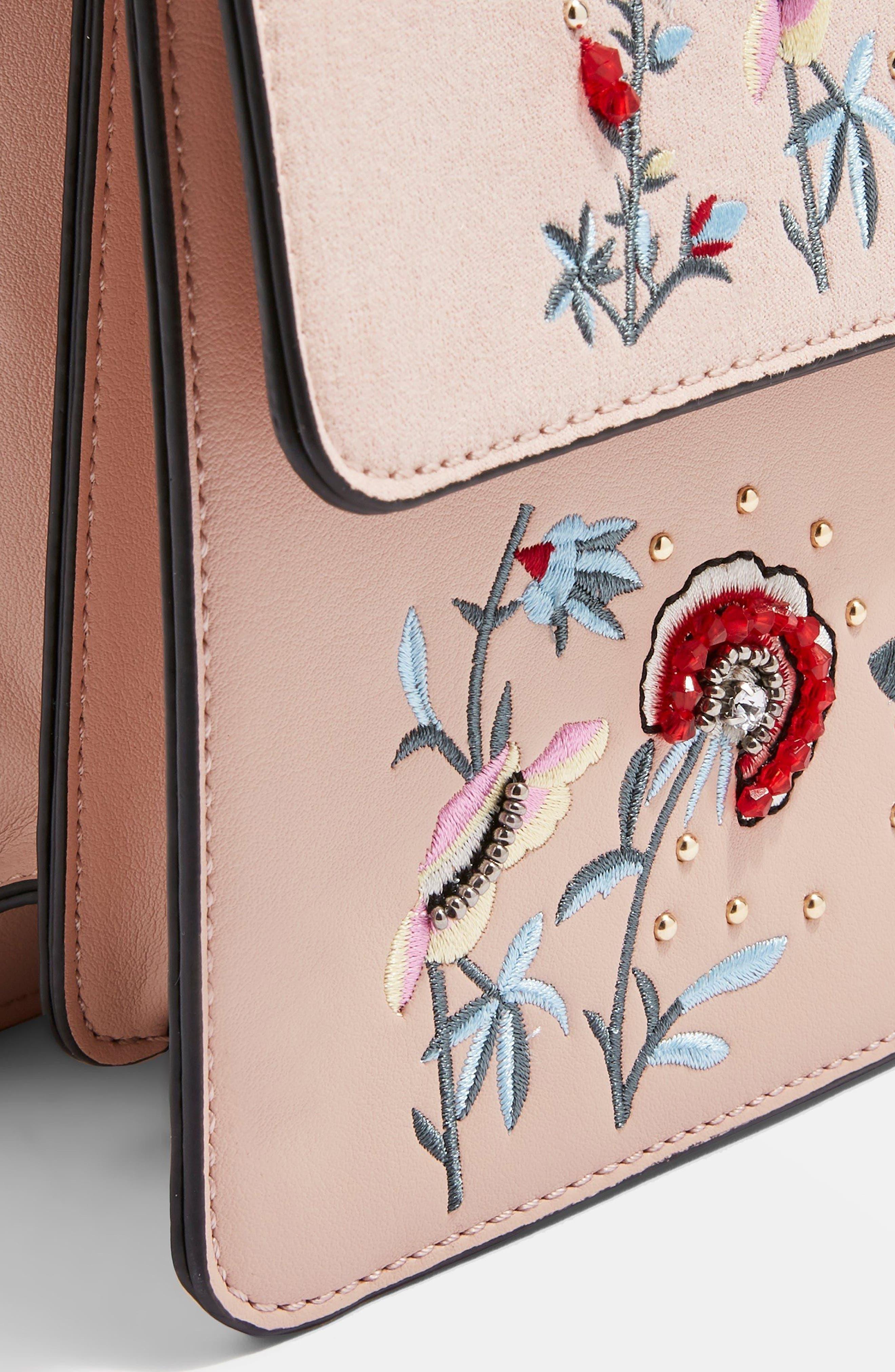 Darcy Floral Shoulder Bag,                             Alternate thumbnail 7, color,                             PINK MULTI