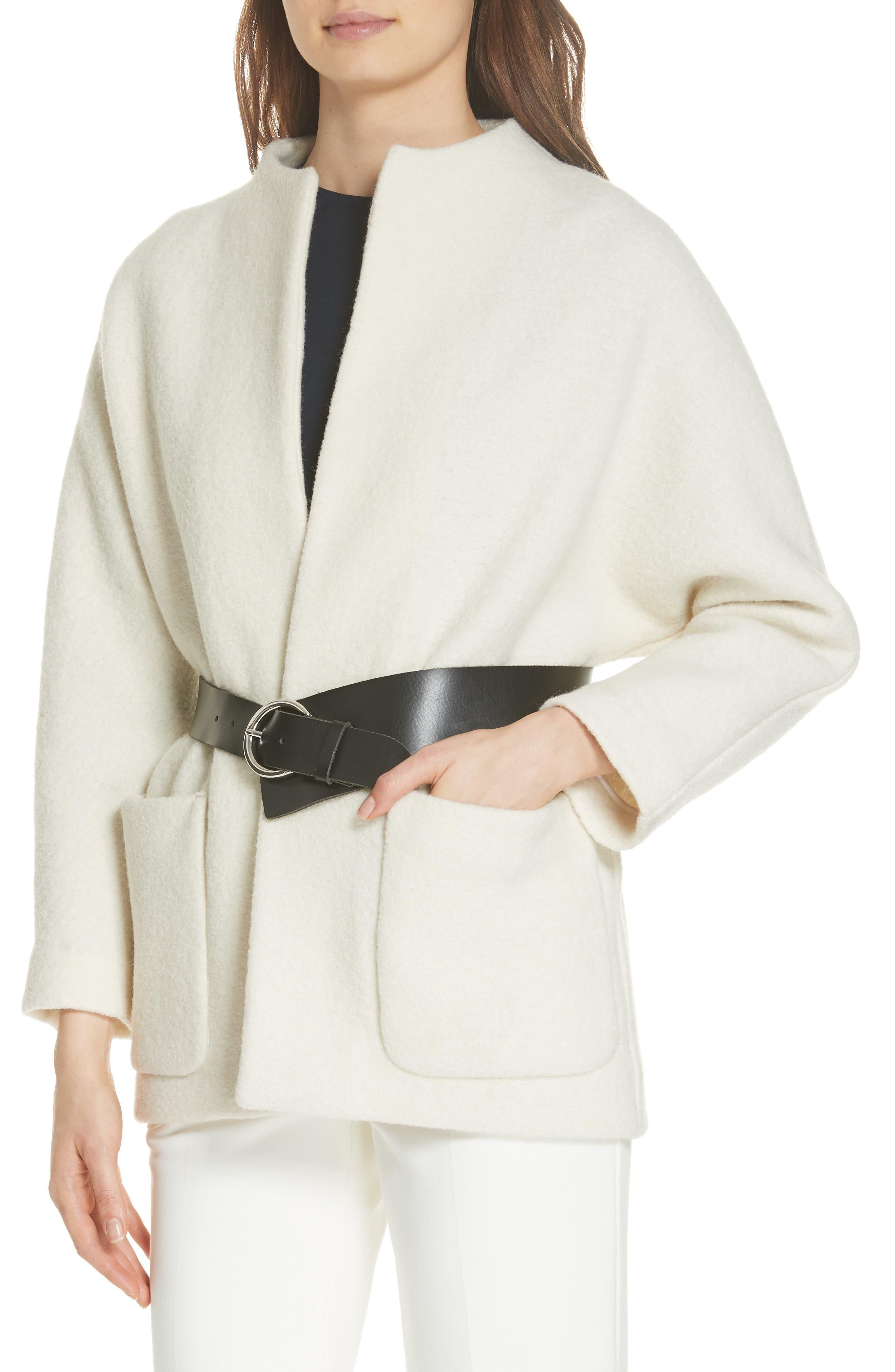 Clif Belted Wool Coat,                             Alternate thumbnail 4, color,                             ECRU