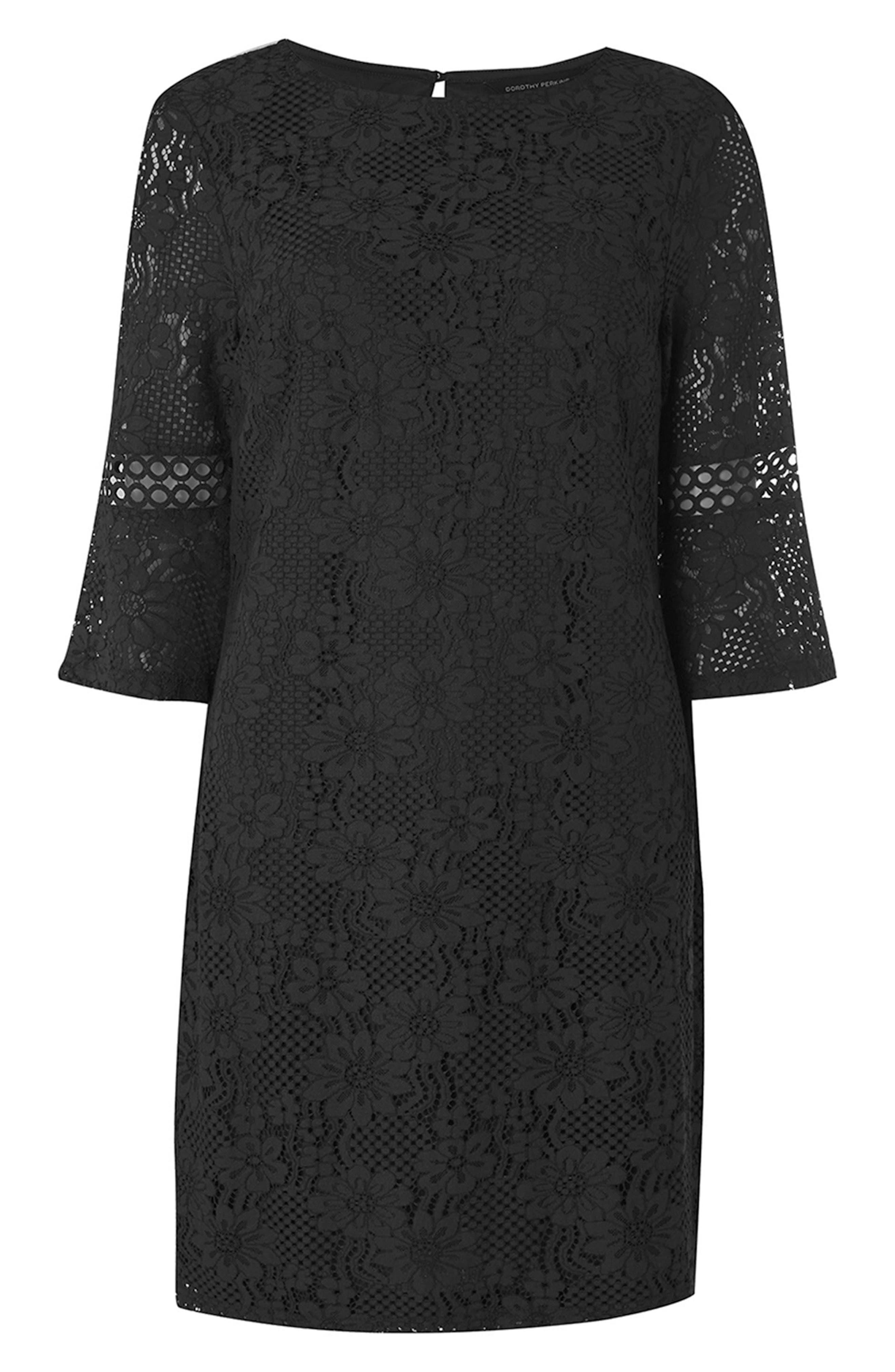 Lace Flare Cuff Shift Dress,                             Alternate thumbnail 4, color,                             001