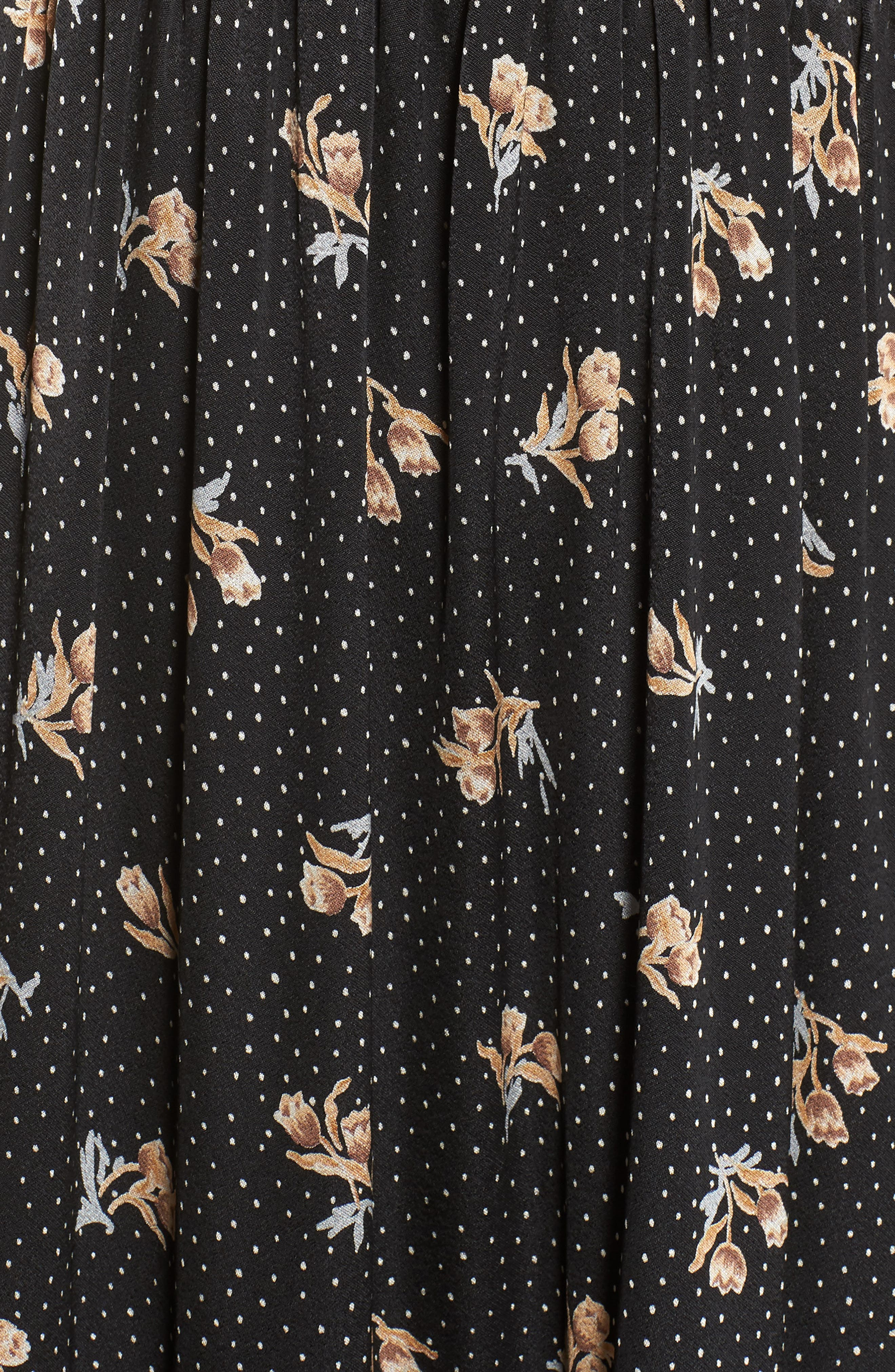 Lace Panel Maxi Dress,                             Alternate thumbnail 6, color,                             BLACK FLORAL