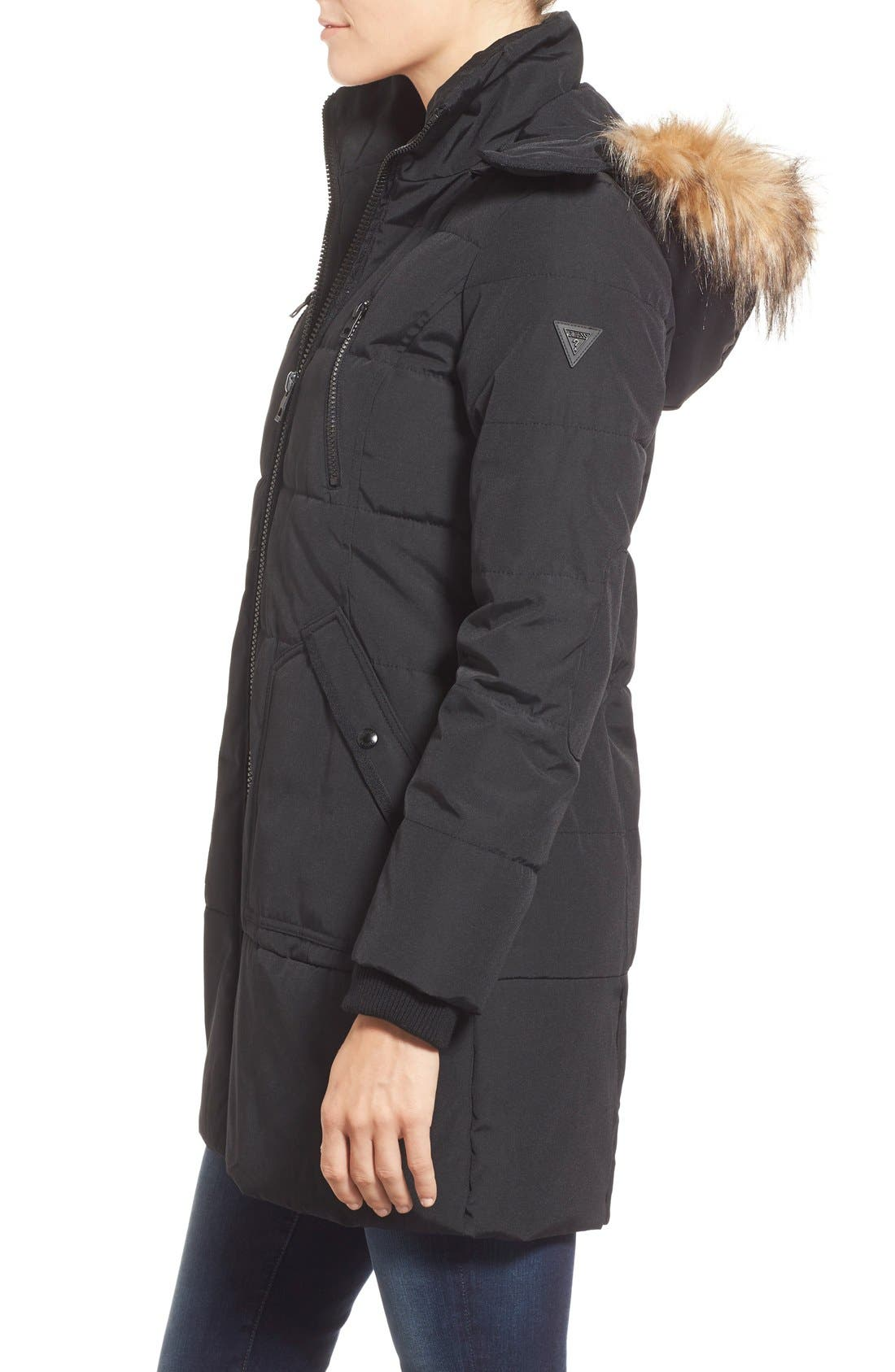 'Expedition' Quilted Parka with Faux Fur Trim,                             Alternate thumbnail 12, color,