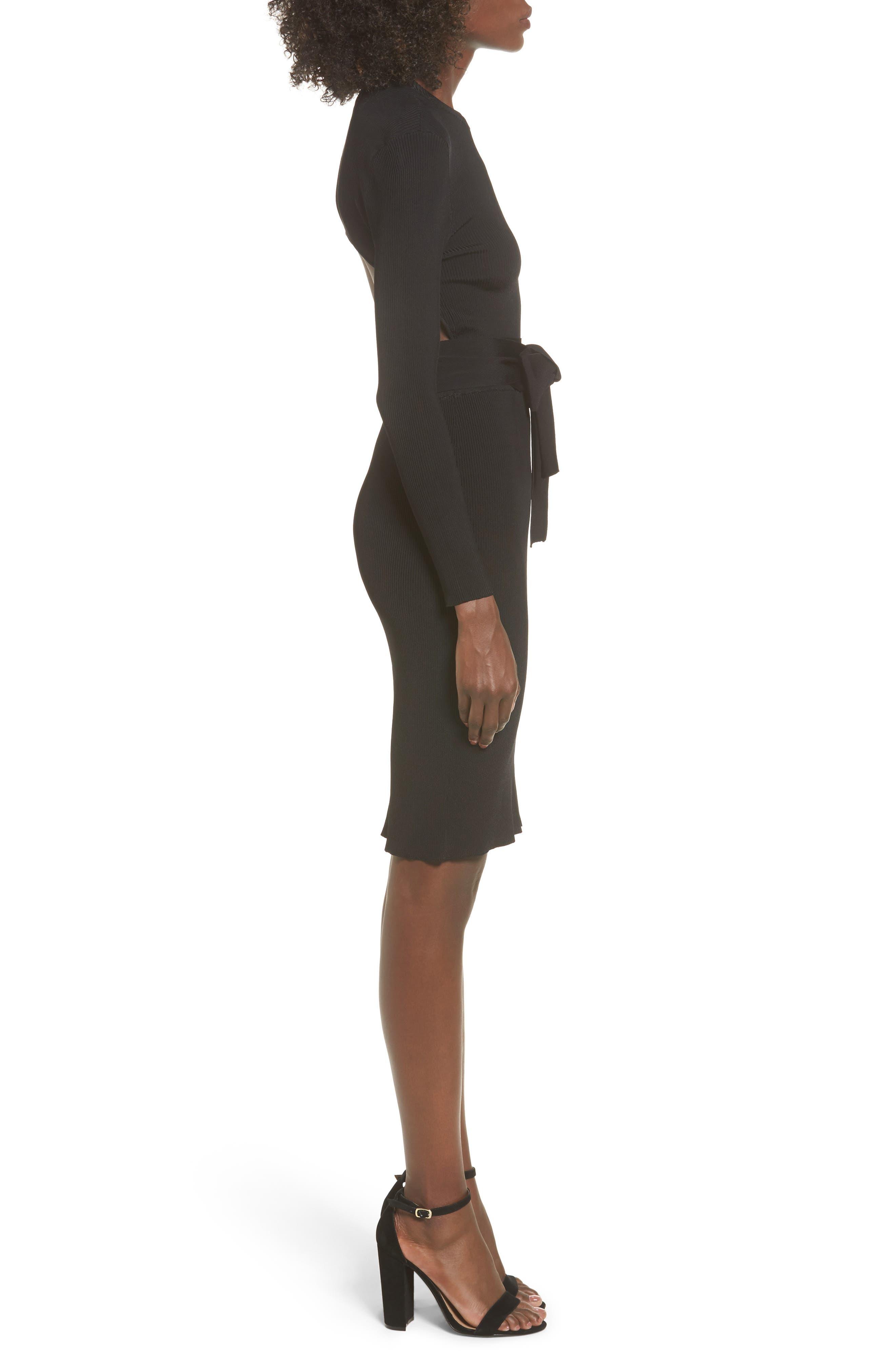 Desiree Cutout Ribbed Body-Con Dress,                             Alternate thumbnail 3, color,                             001