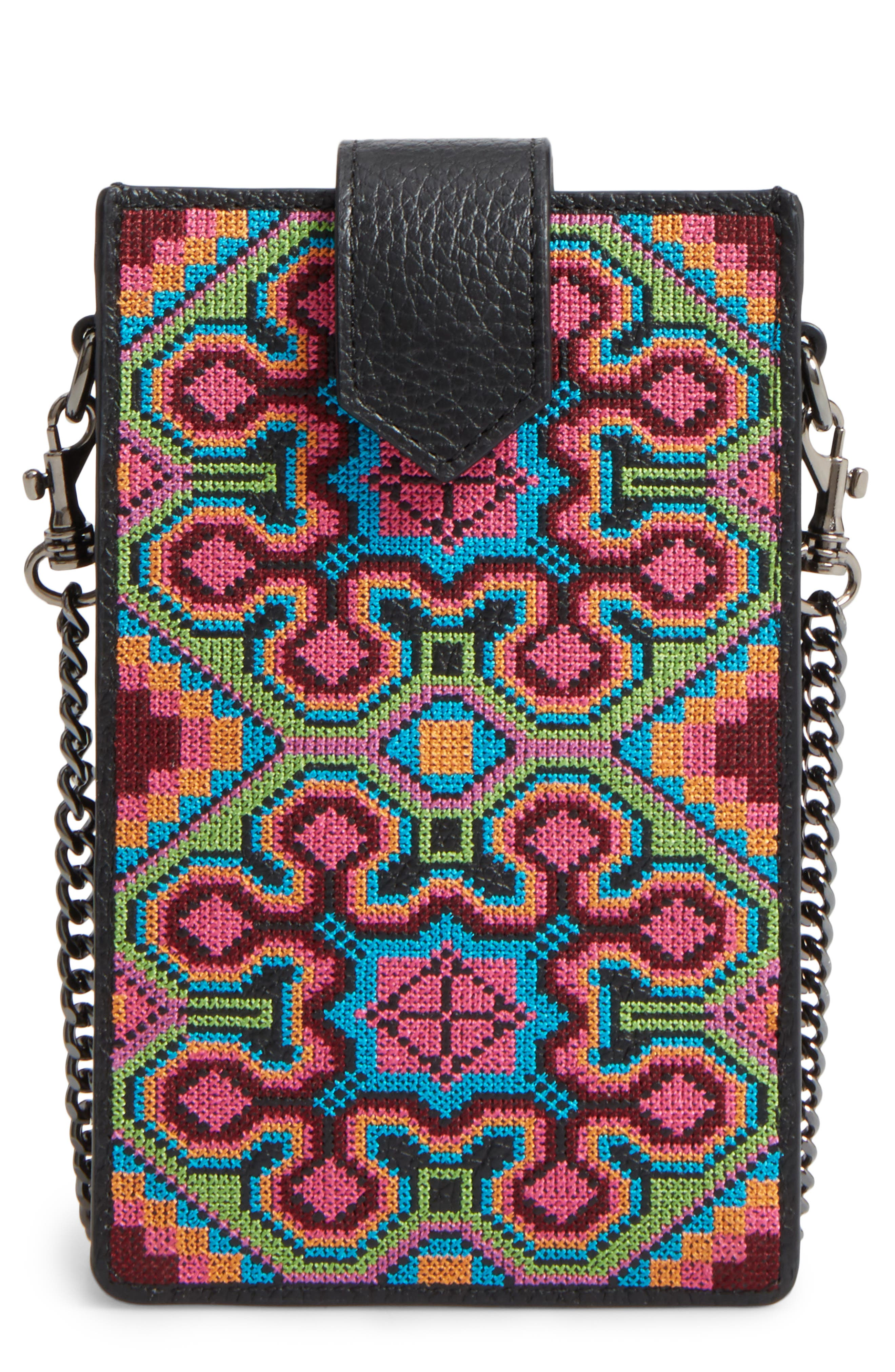 Leather Phone Crossbody Case,                             Main thumbnail 1, color,                             001