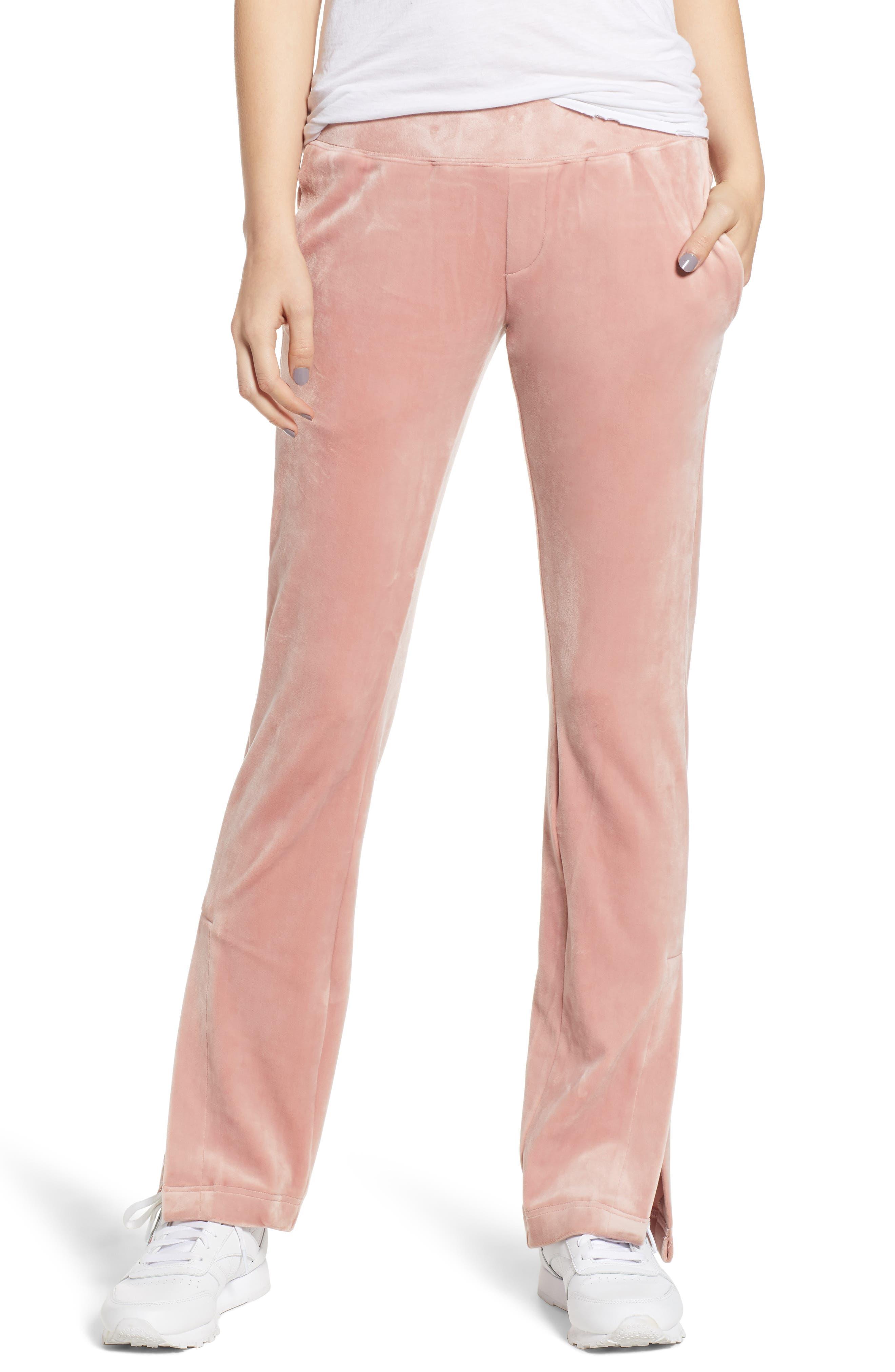 Vented Hem Velour Track Pants,                         Main,                         color, FOXGLOVE