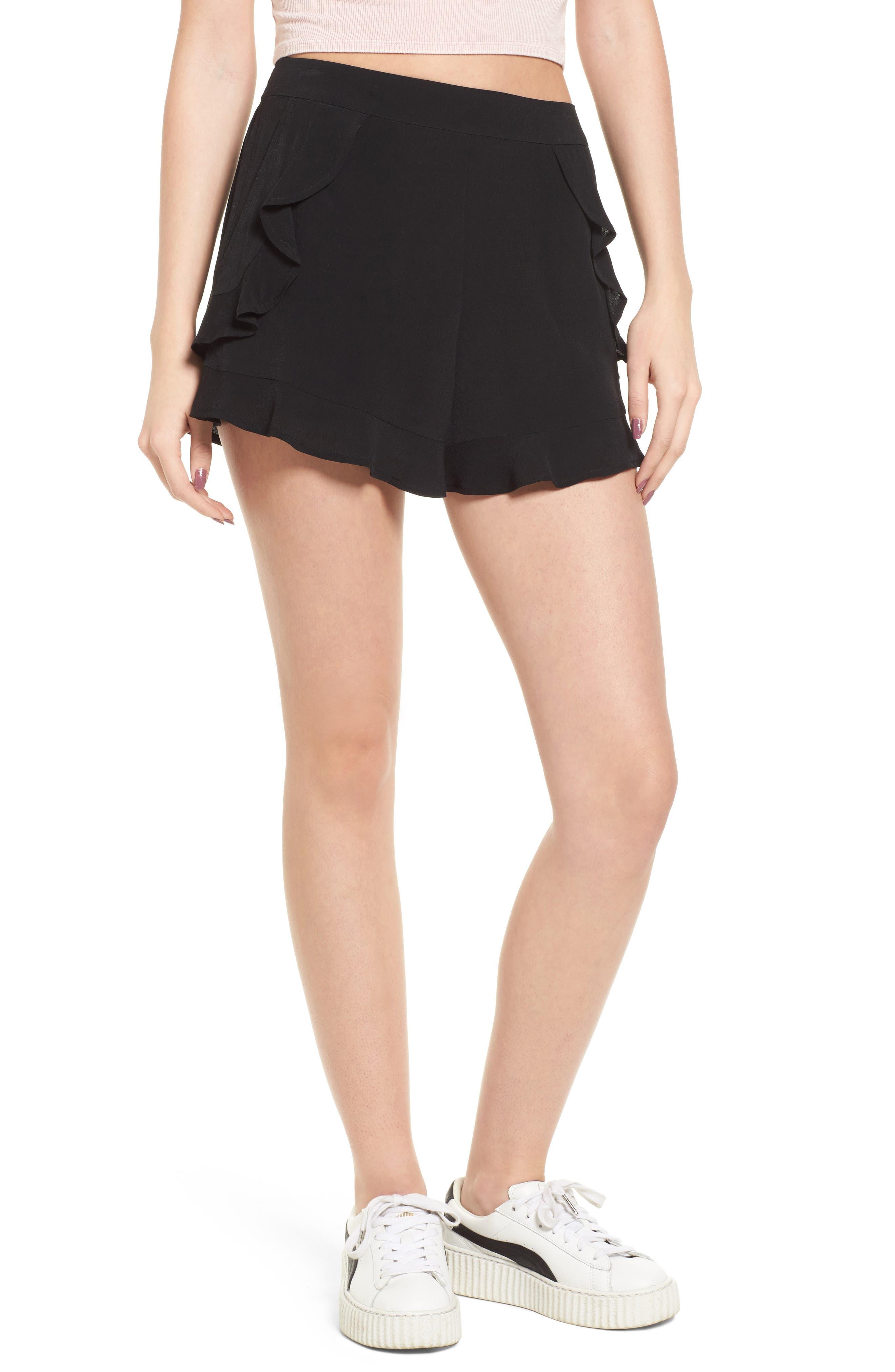 Ruffle Trim Shorts,                         Main,                         color, 001