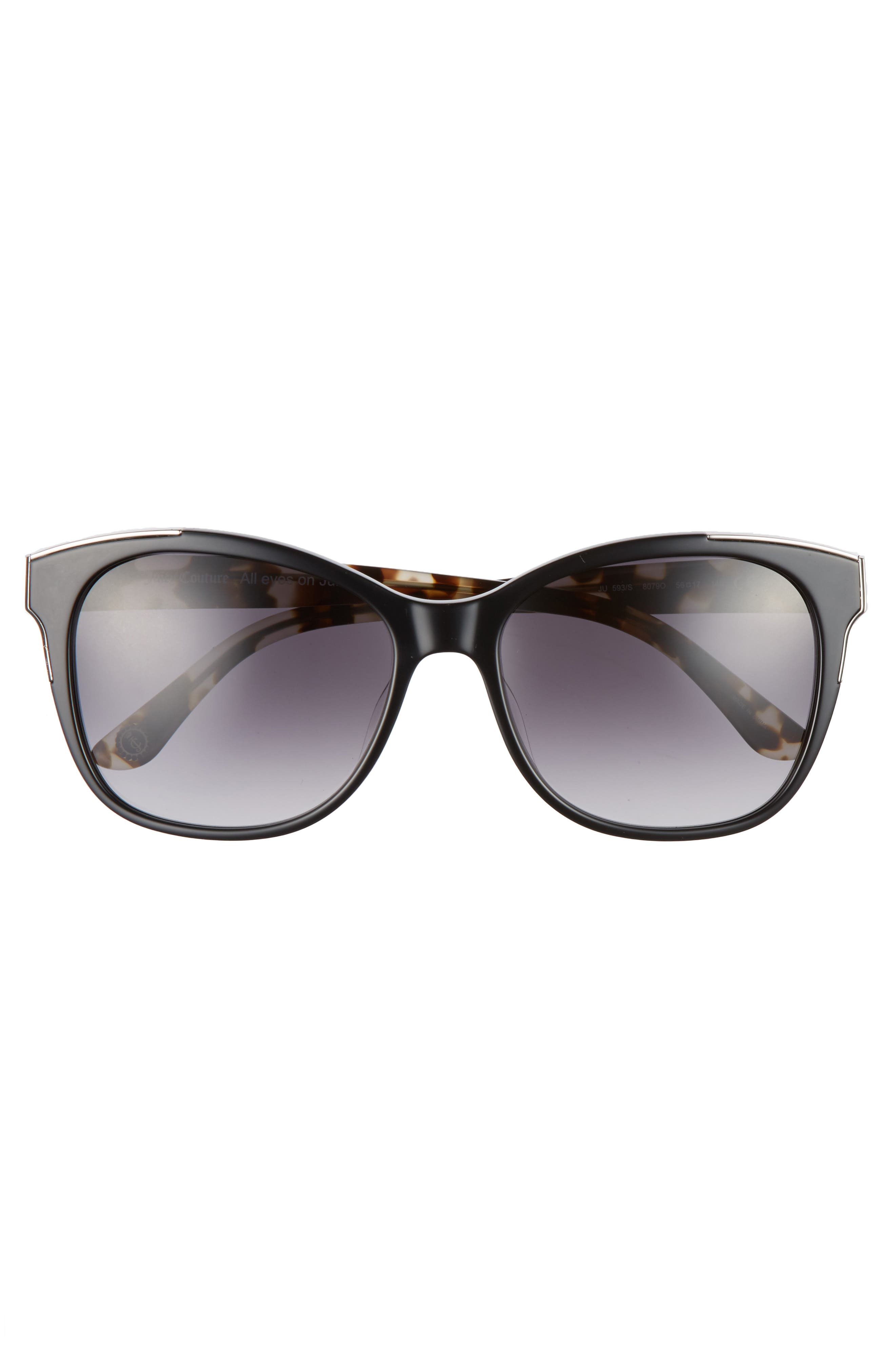 Black Label 56mm Cat Eye Sunglasses,                             Alternate thumbnail 3, color,                             BLACK
