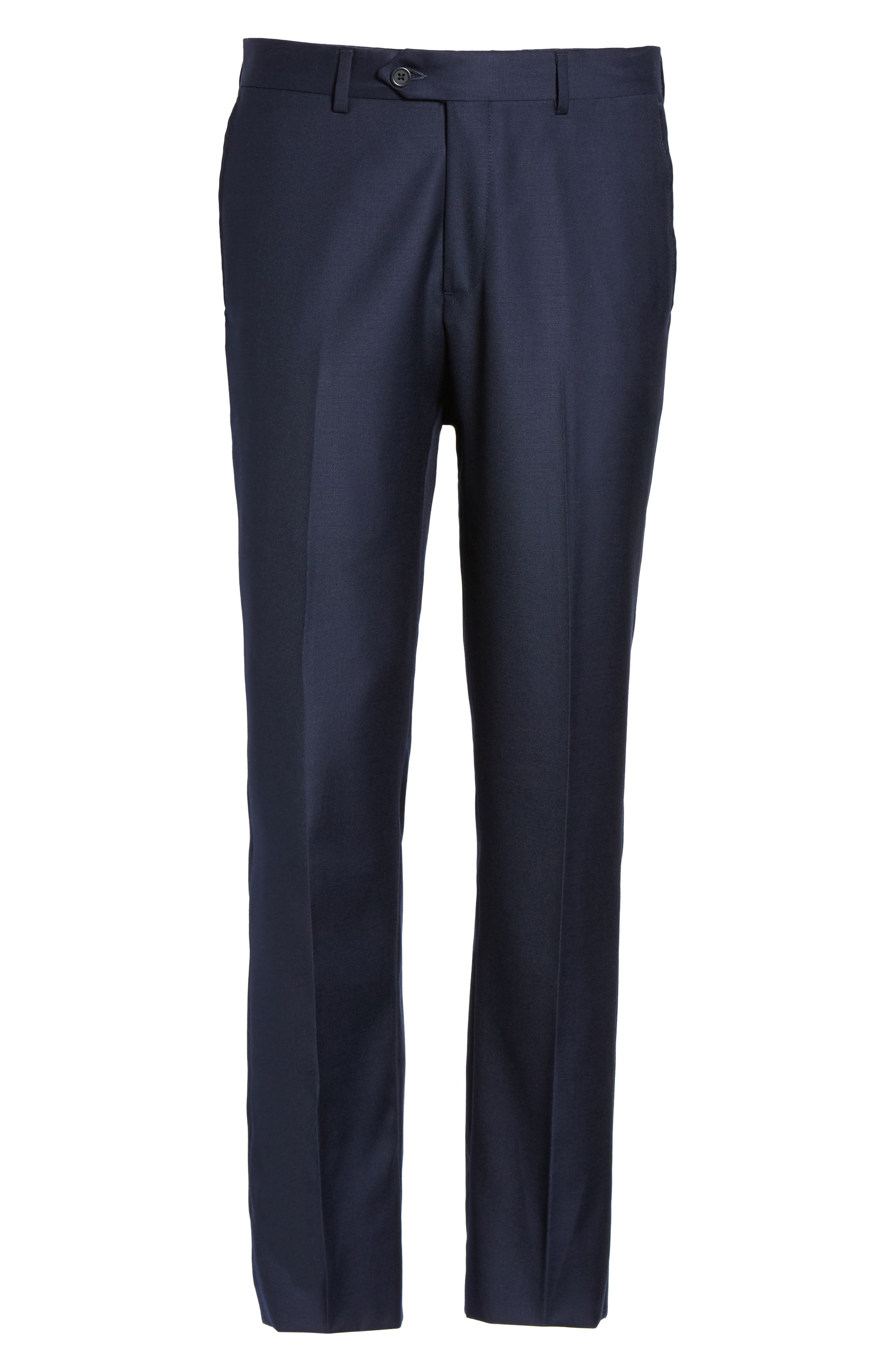 Flat Front Solid Wool Trousers,                             Alternate thumbnail 34, color,