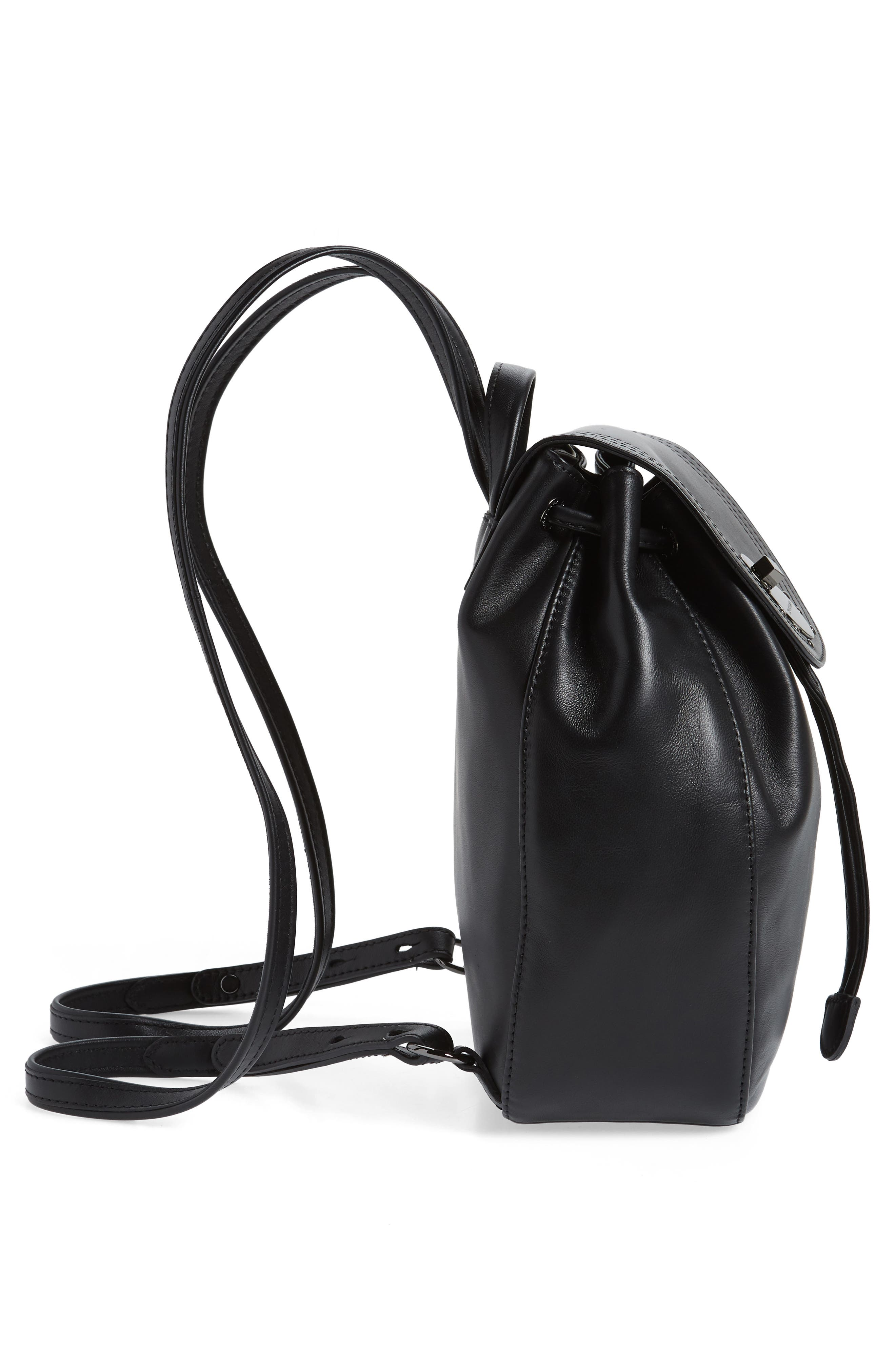 Cavalcade Leather Backpack,                             Alternate thumbnail 5, color,                             BLACK