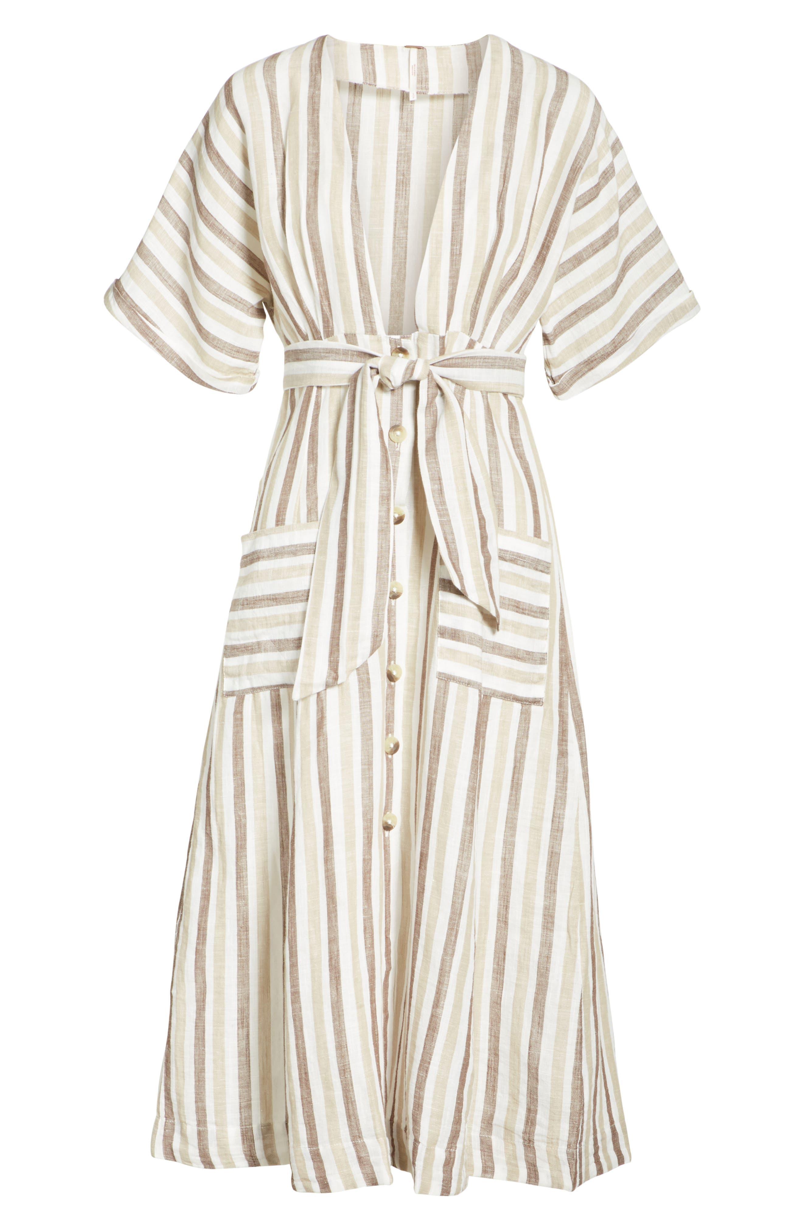 Monday Stripe Linen Blend Midi Dress,                             Alternate thumbnail 13, color,