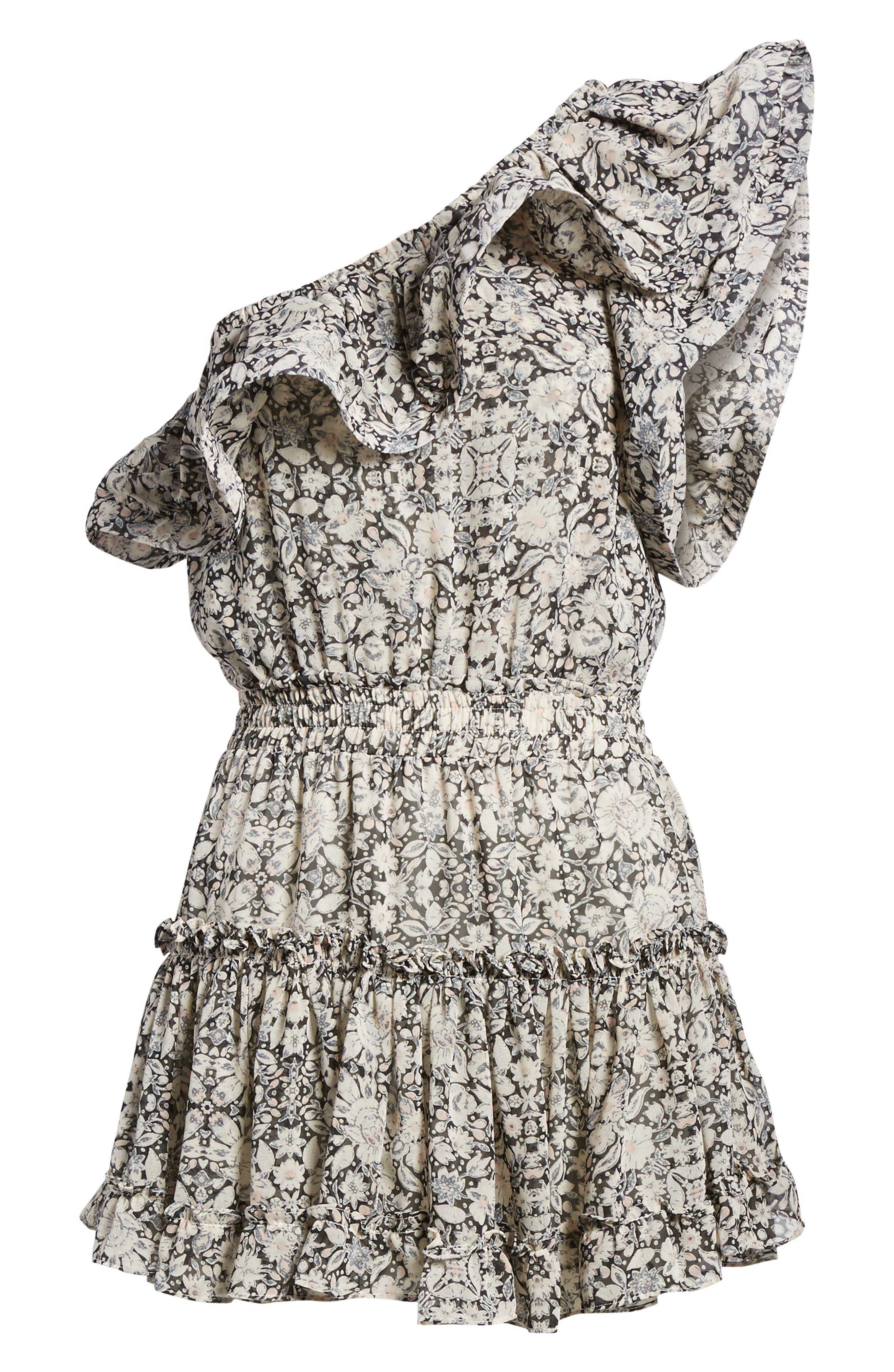 Josefine Ruffle One-Shoulder Dress,                             Alternate thumbnail 6, color,                             MULTI FE8