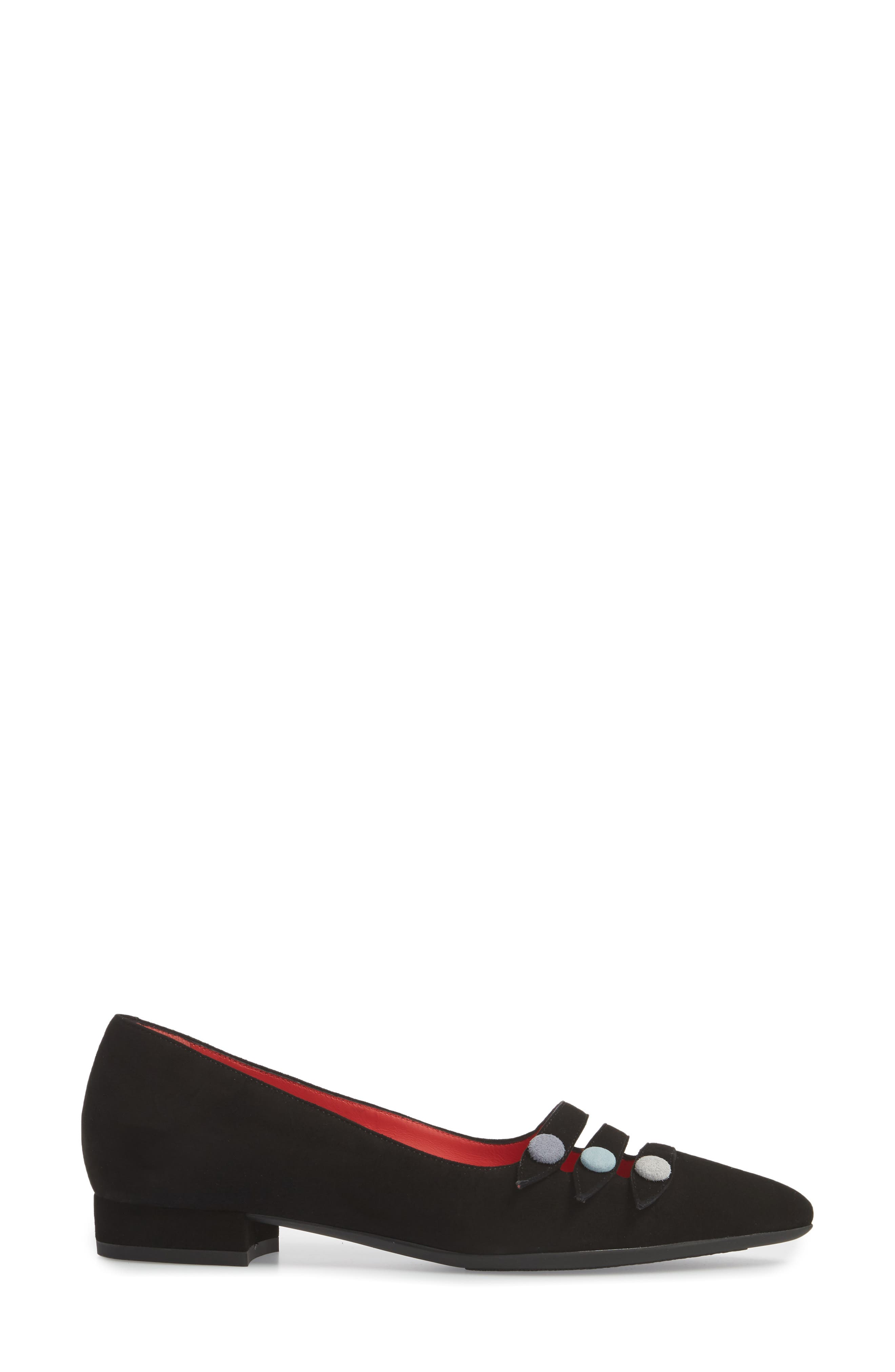 Janet Flat,                             Alternate thumbnail 3, color,                             BLACK LEATHER/ SUEDE