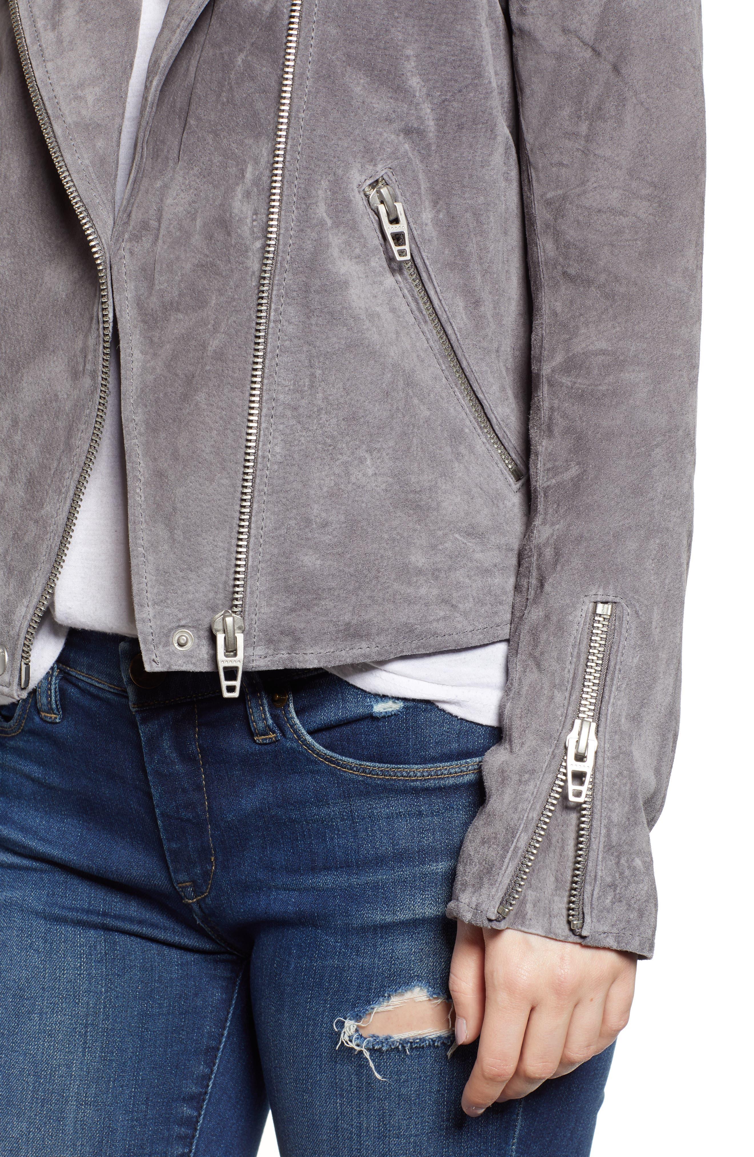 BLANKNYC,                             No Limit Suede Moto Jacket,                             Alternate thumbnail 4, color,                             SILVERSCREEN