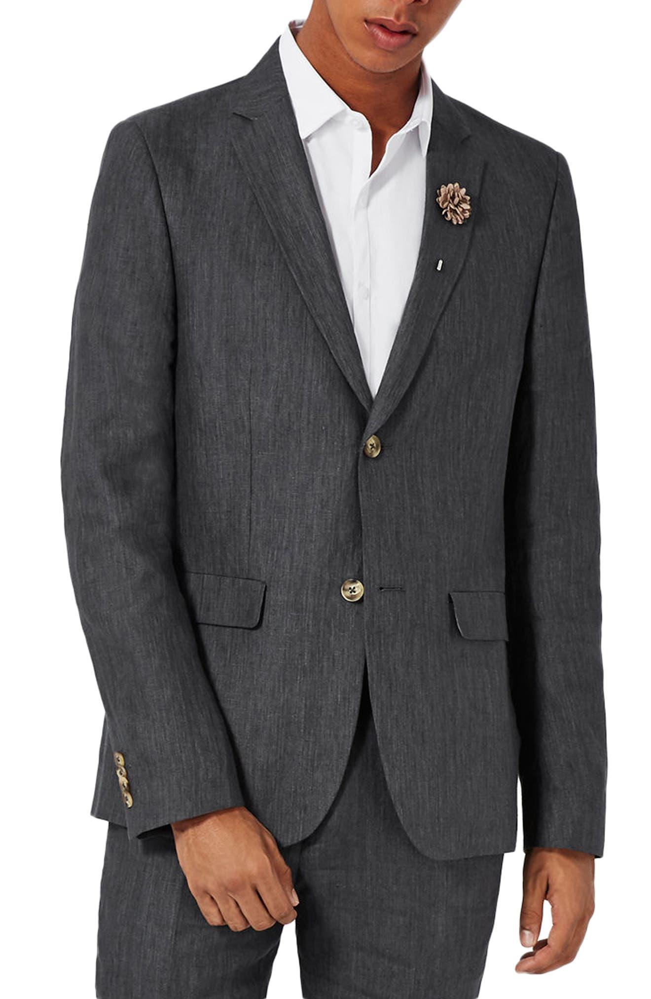 Skinny Fit Linen Suit Jacket,                         Main,                         color, 021