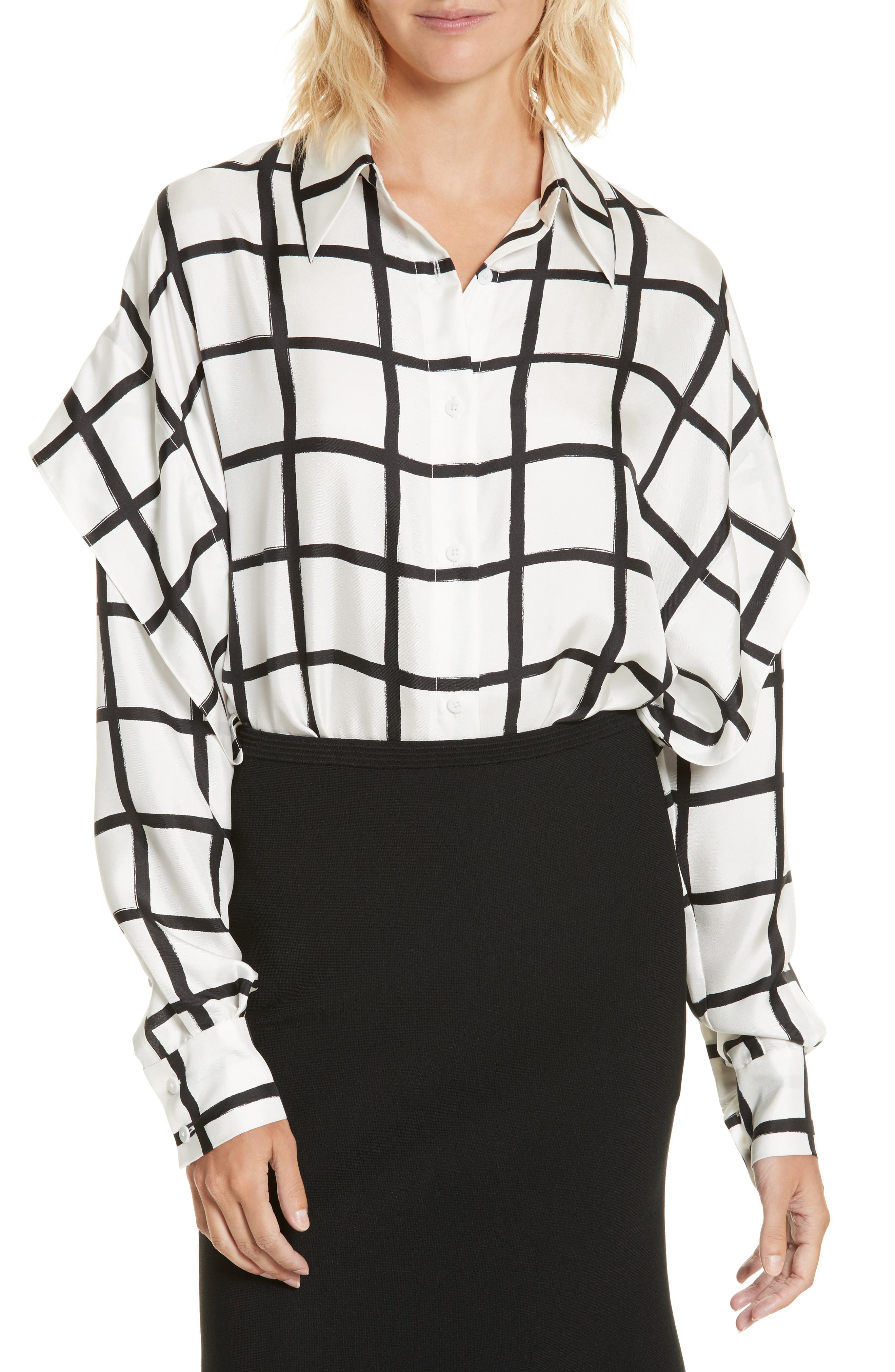 Diane von Furstenberg Windowpane Plaid Button Down Silk Shirt,                         Main,                         color, 178