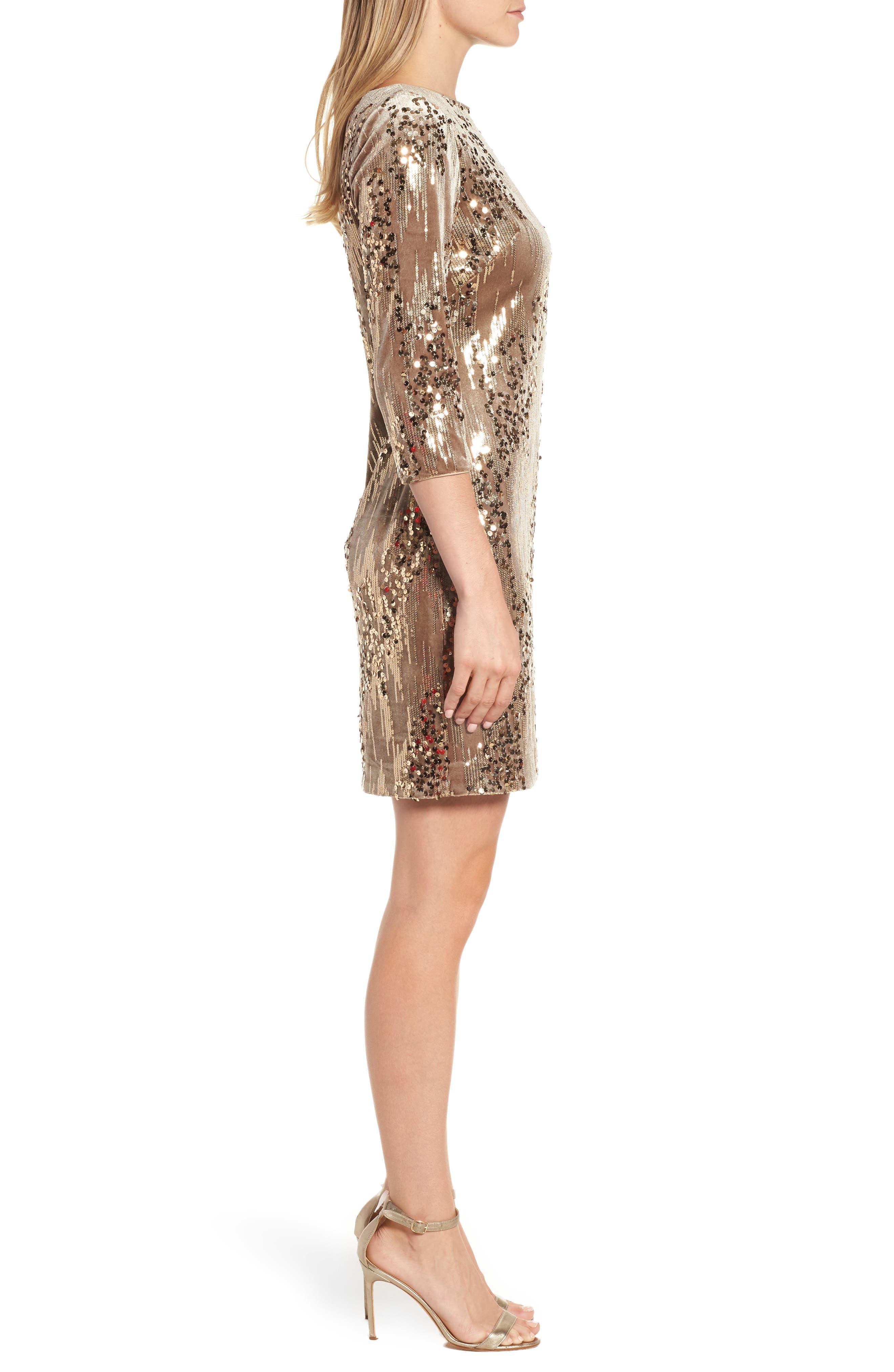 Sequin & Velvet Sheath Dress,                             Alternate thumbnail 3, color,