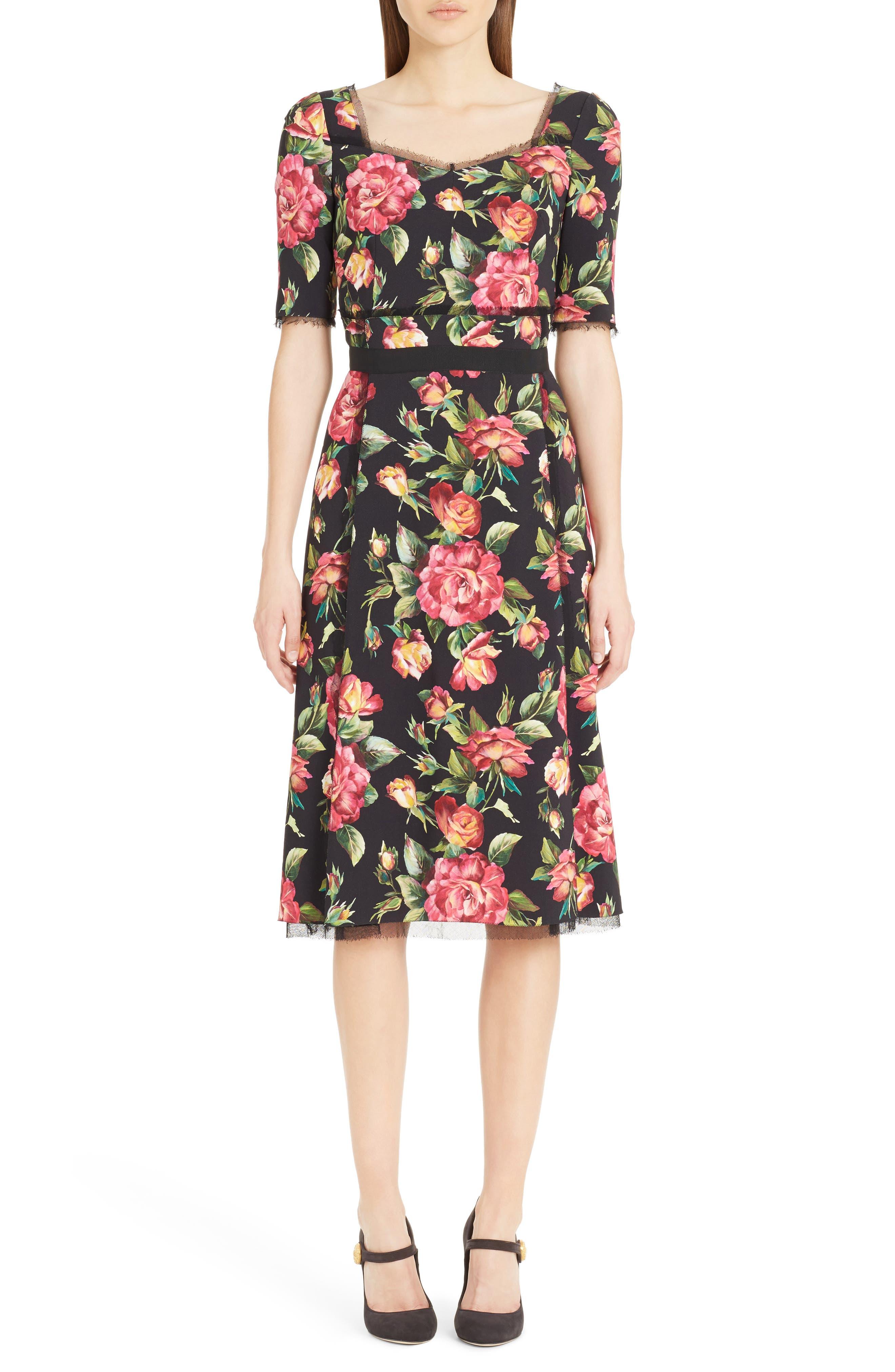 Rose Print Cady A-Line Dress,                         Main,                         color, 001