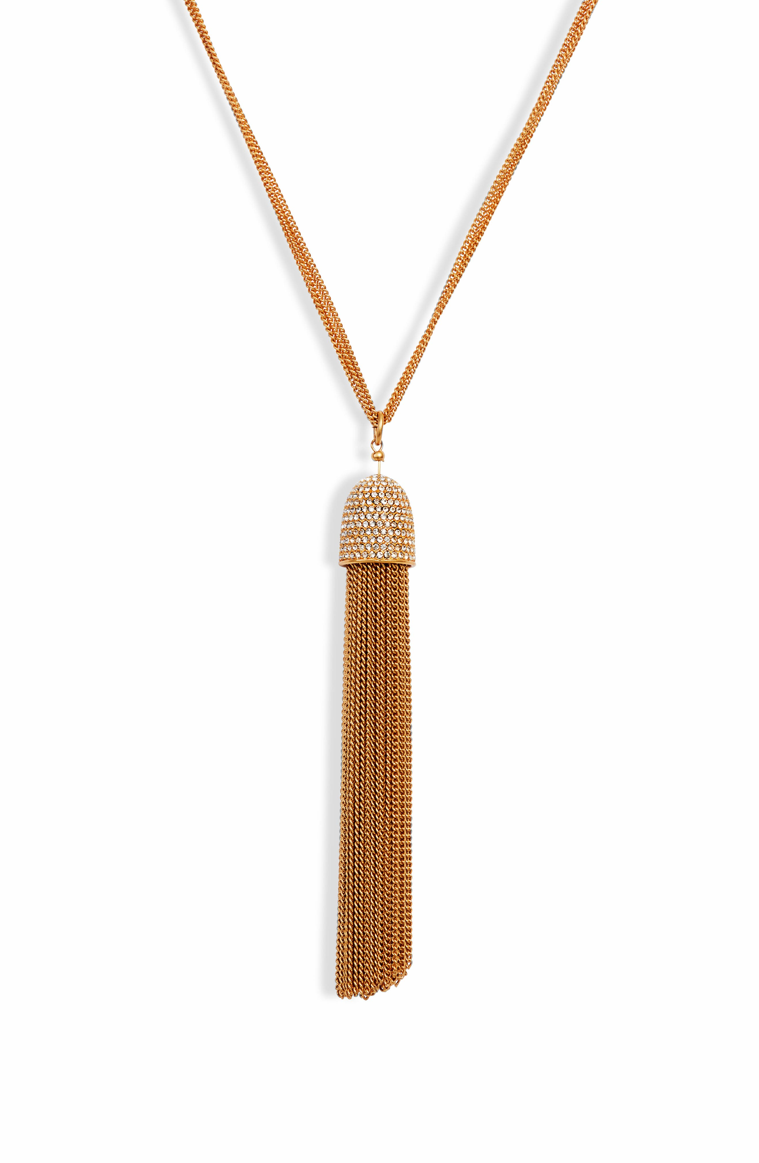 glimmer shimmer tassel pendant necklace,                             Alternate thumbnail 2, color,                             CLEAR/ GOLD