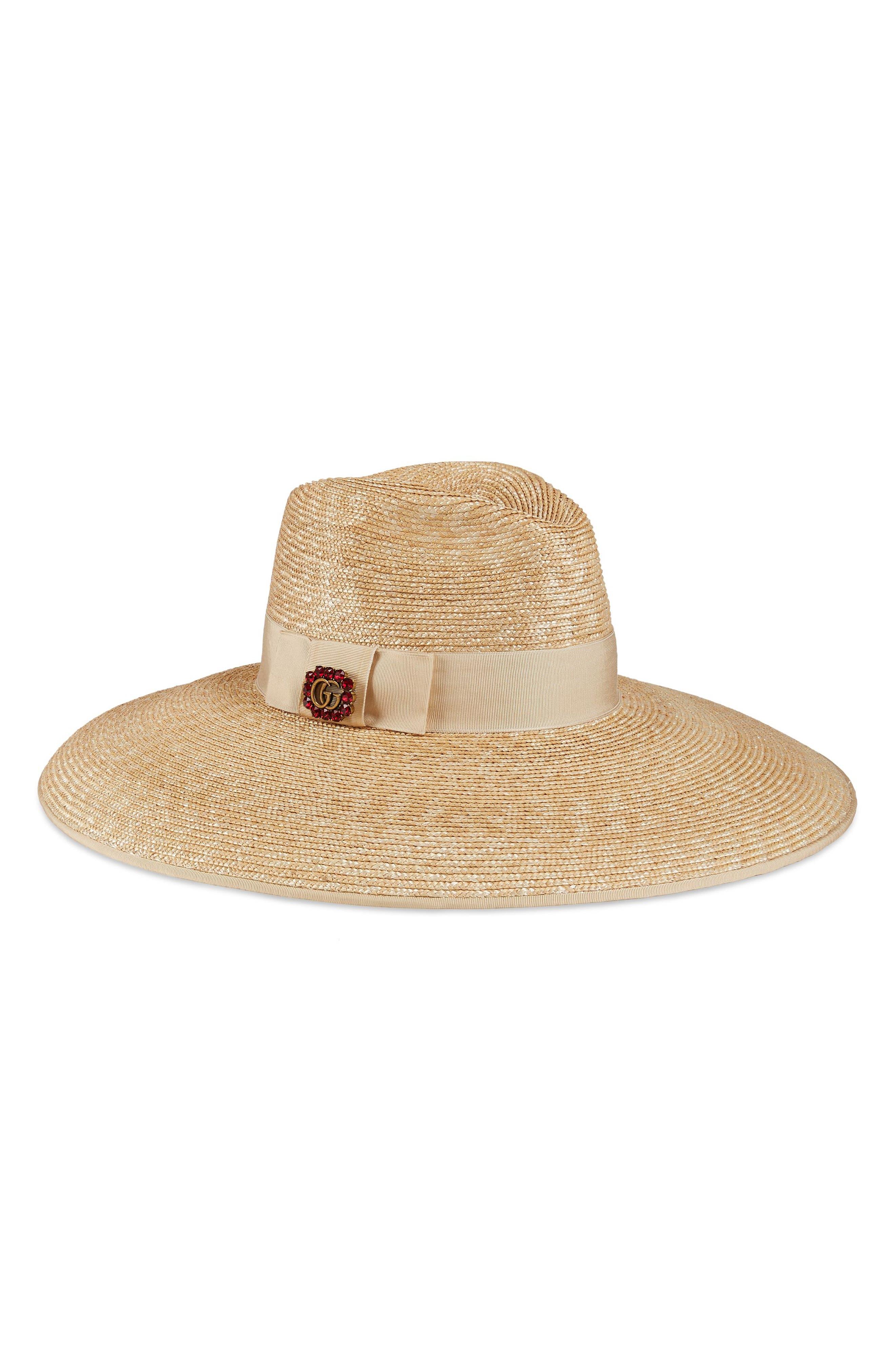 Crystal Embellished Wide Brim Straw Hat,                         Main,                         color, 110