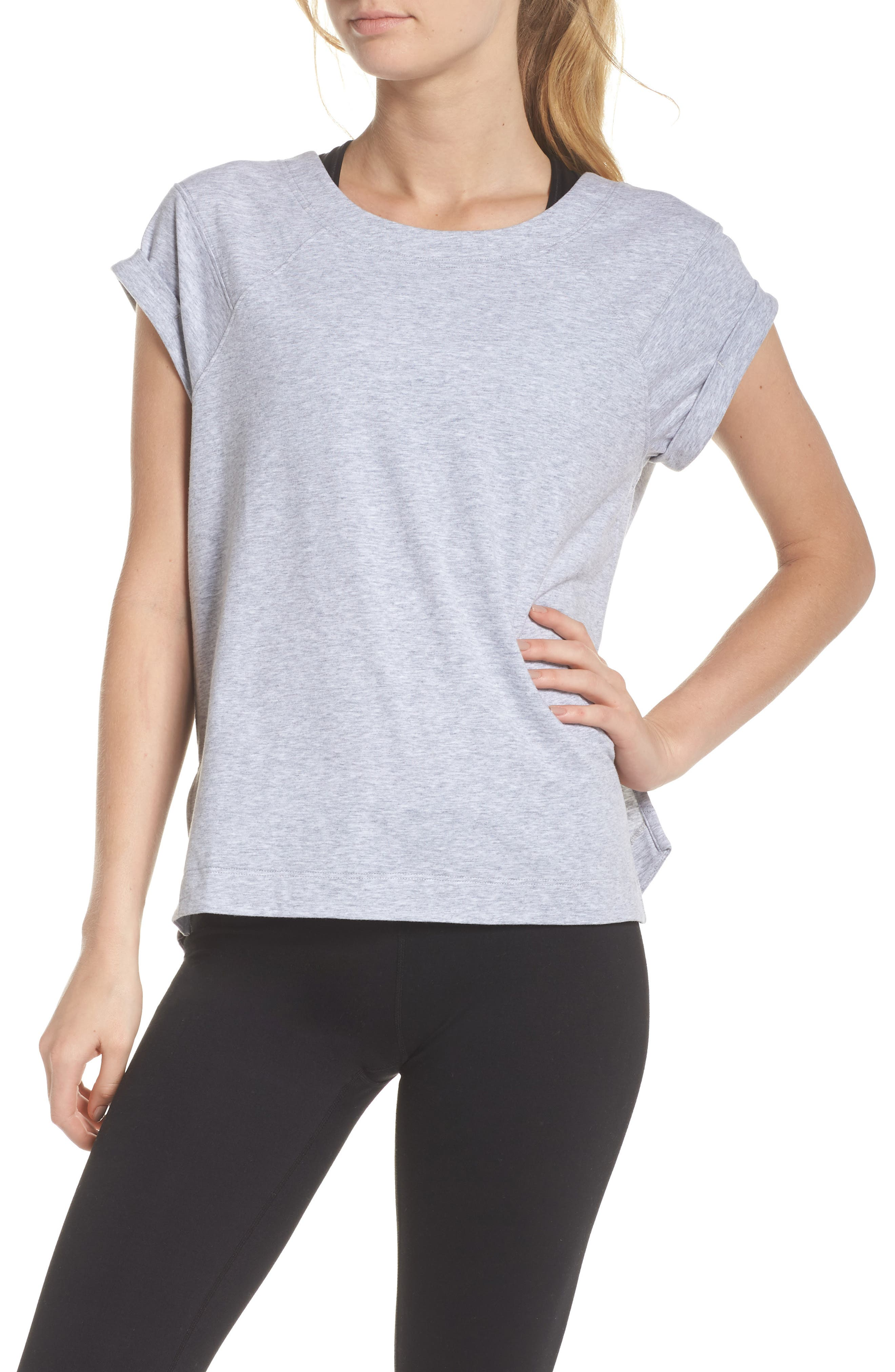 Karly Tee,                             Main thumbnail 1, color,                             GREY QUIET HEATHER