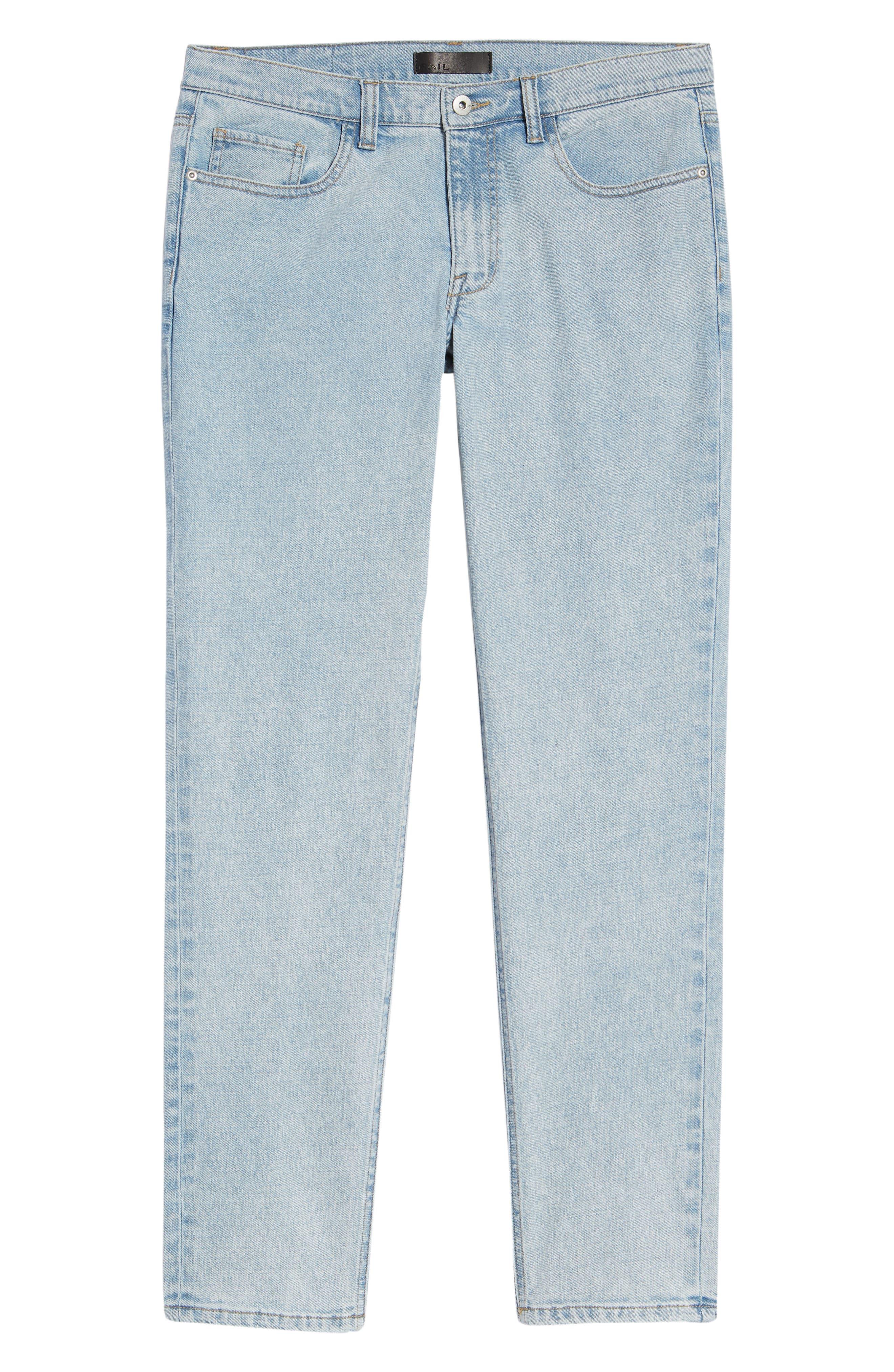 Acid Wash Stretch Slim Leg Jeans,                             Alternate thumbnail 6, color,                             BLUE VEDDER WASH