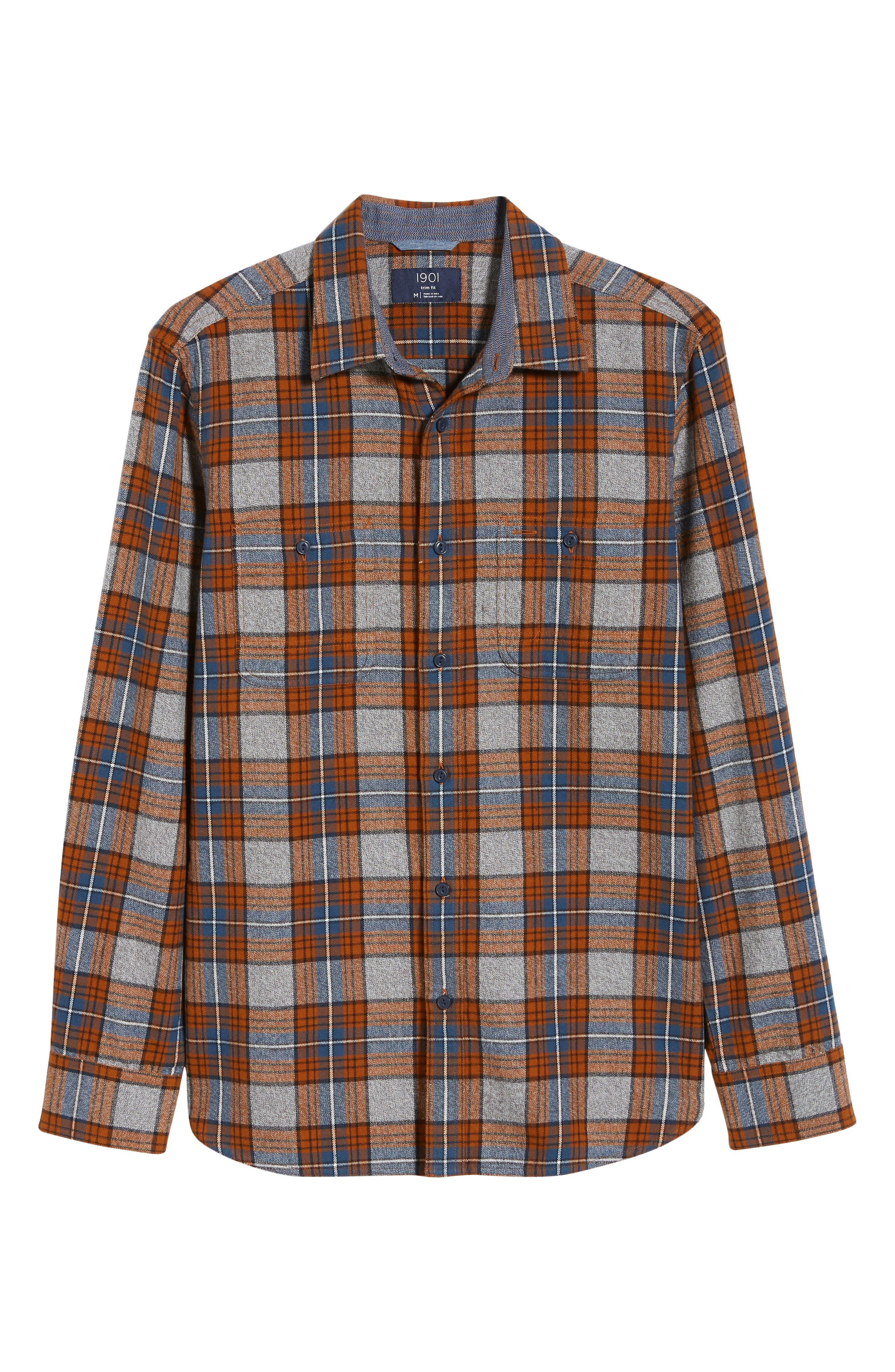 Regular Fit Workwear Plaid Flannel Shirt,                             Alternate thumbnail 6, color,                             RUST AUTUMN BLUE PLAID