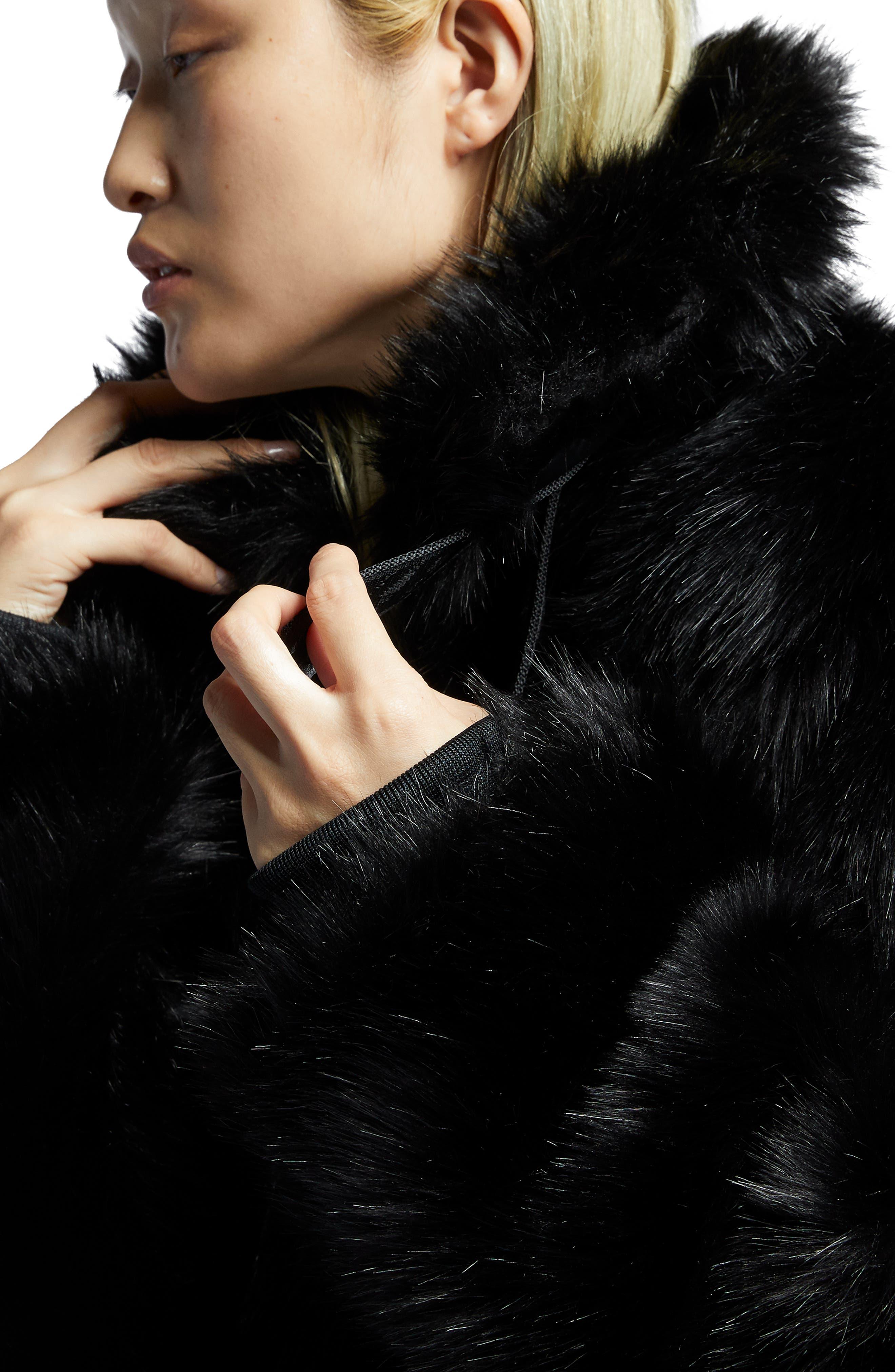 NIKE,                             x Ambush Women's Reversible Faux Fur Coat,                             Alternate thumbnail 5, color,                             010