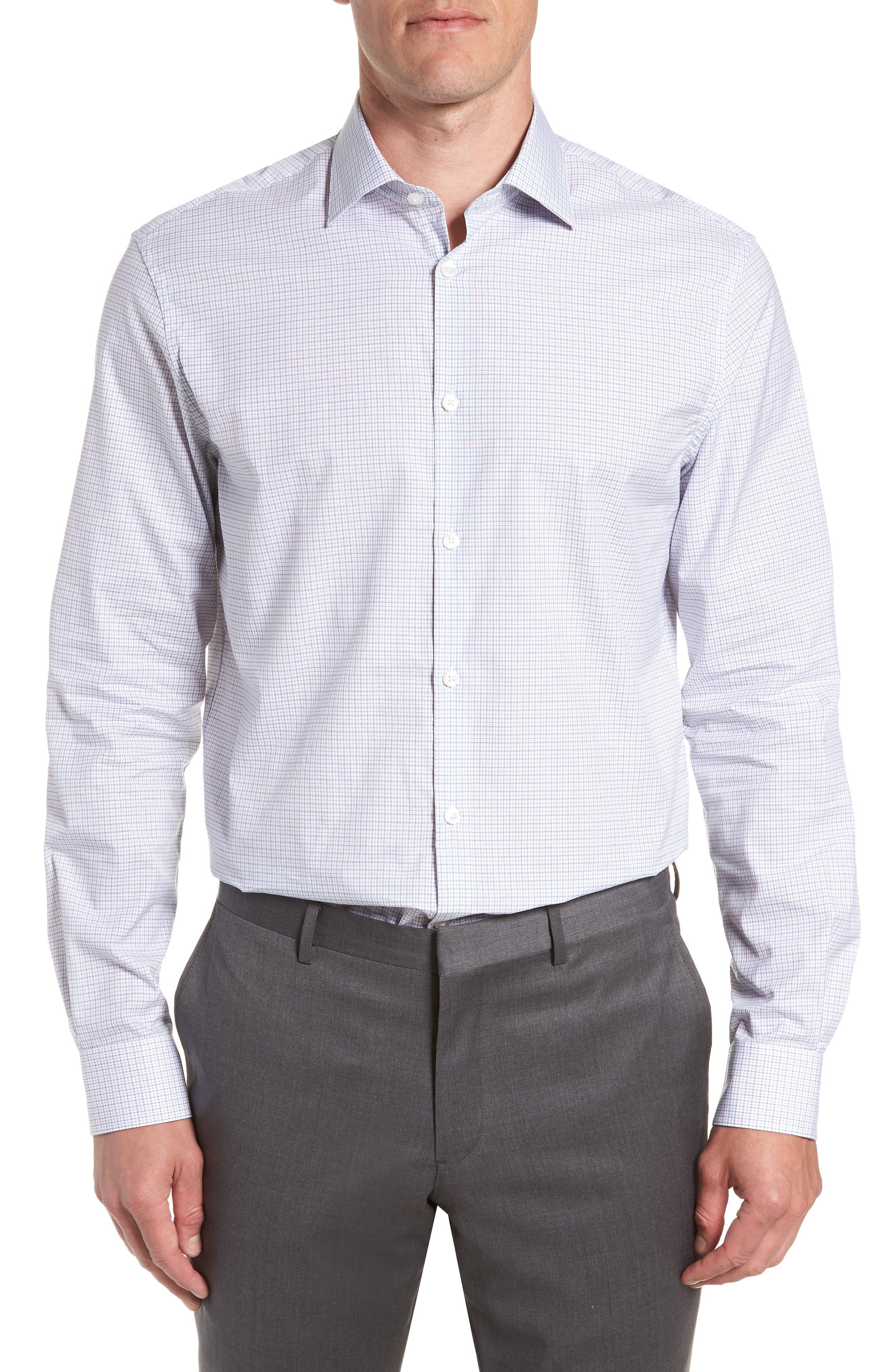 JOHN VARVATOS STAR USA Micro Plaid Regular Fit Dress Shirt, Main, color, 428