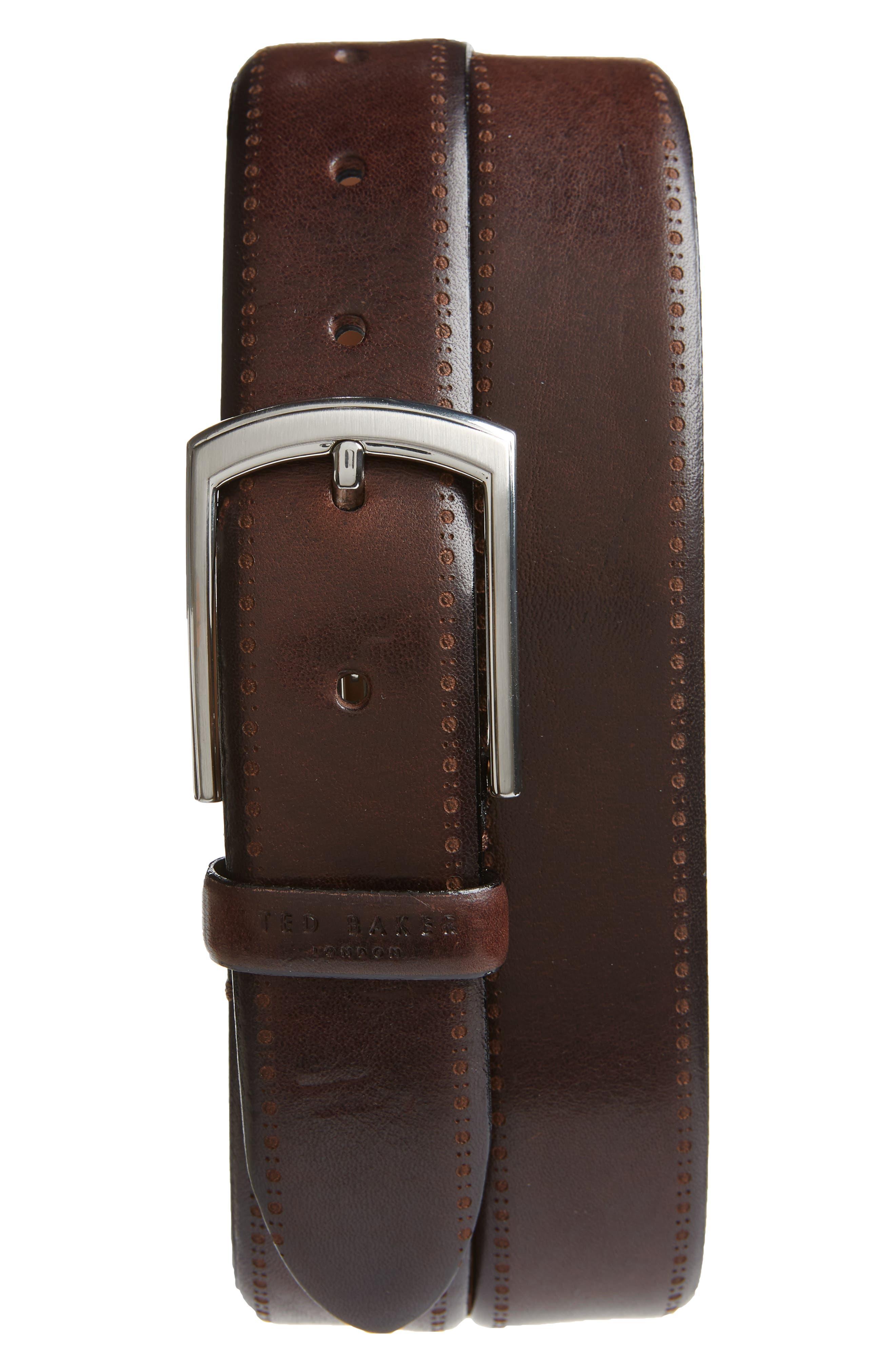 Burnished Brogue Leather Belt,                             Main thumbnail 1, color,                             CHOCOLATE