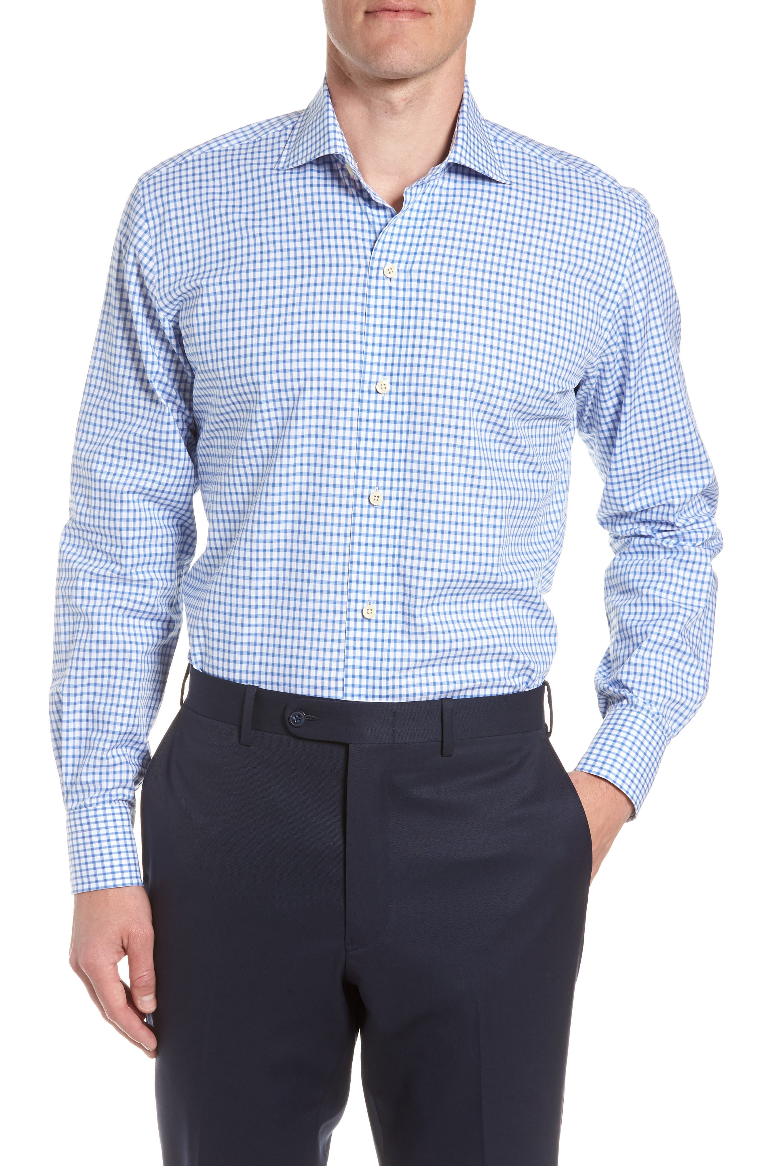 Garrison Slim Fit Check Dress Shirt,                             Main thumbnail 1, color,