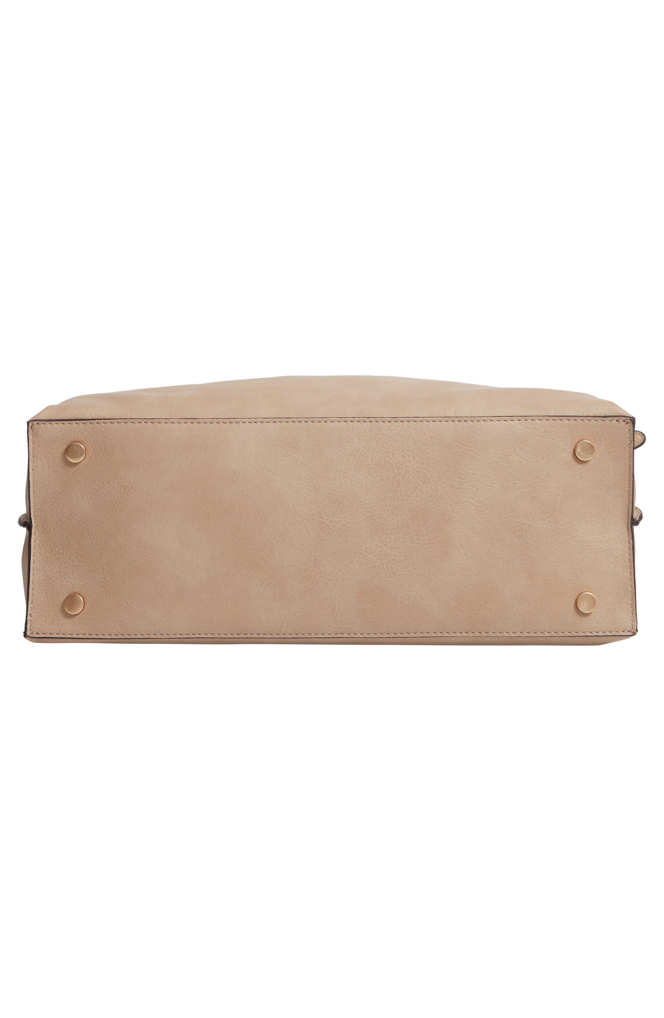 Josah Faux Leather Shoulder Bag,                             Alternate thumbnail 7, color,                             SAFARI