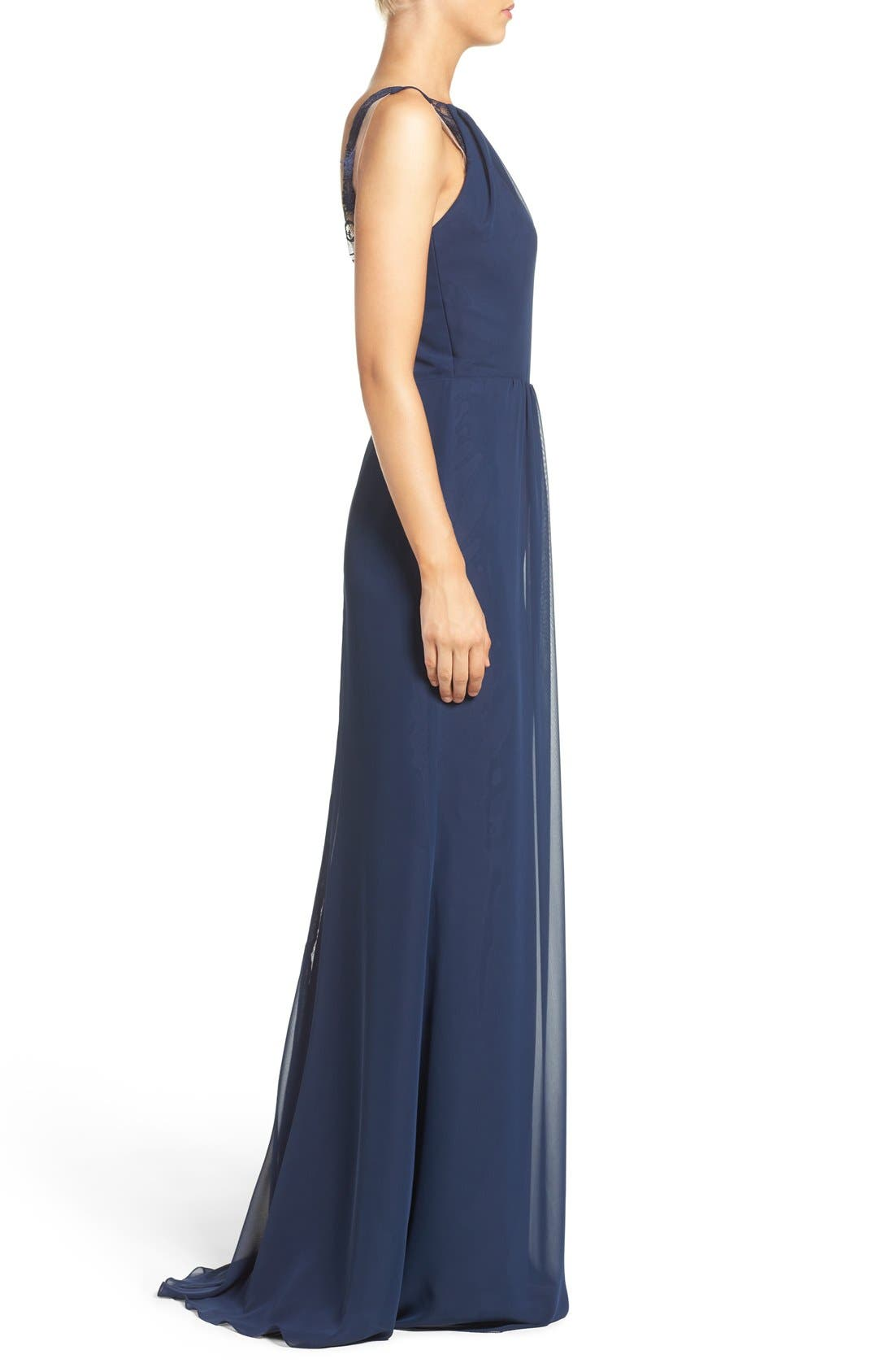 Lace Strap Gathered Chiffon Gown,                             Alternate thumbnail 8, color,