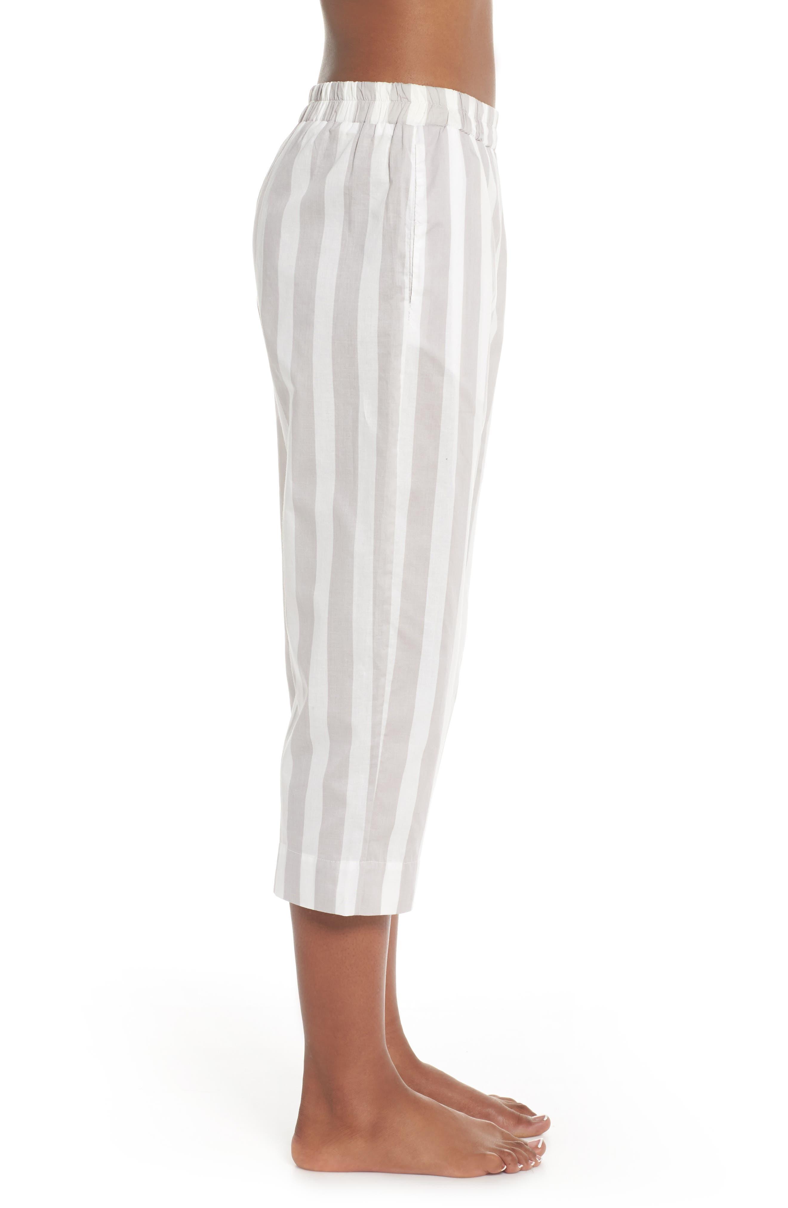 Capri Pajama Pants,                             Alternate thumbnail 3, color,                             GREY STRIPE